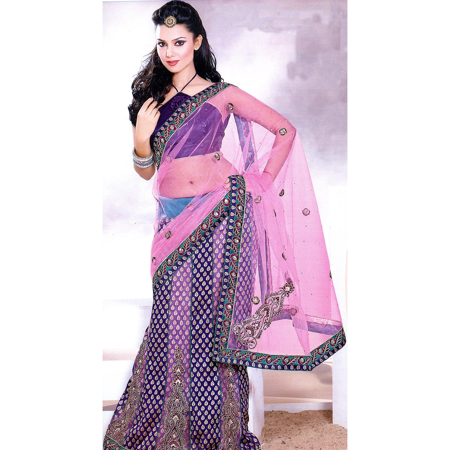 Pink and Purple Wedding Lehenga-Sari with All-Over Metallic Thread Embroidery,Beads and Sequins