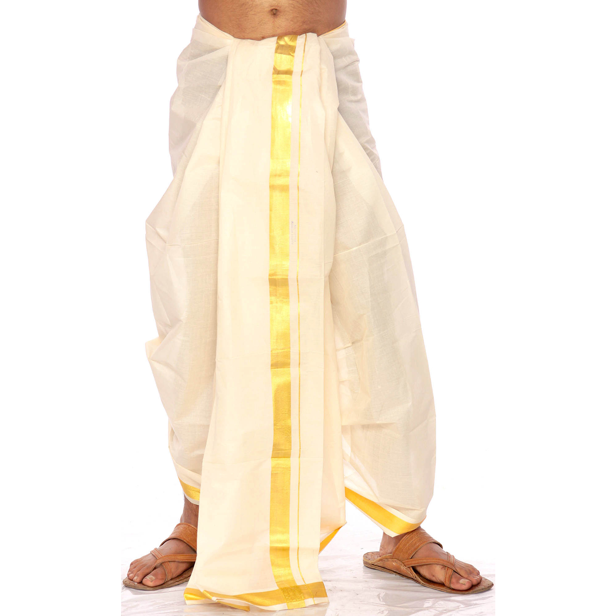 Off-White Kasavu Dhoti from Kerala with Wide Golden Woven Border