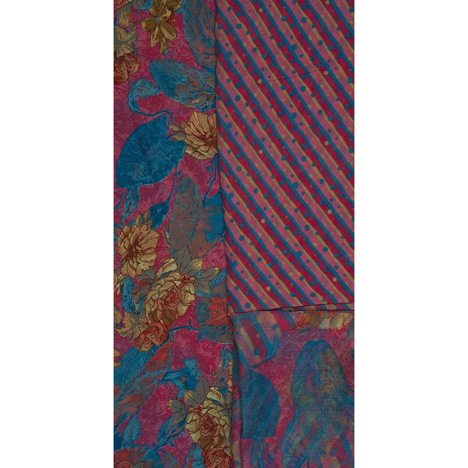 Pink and Blue Salwar Kameez Fabric with Printed Flowers