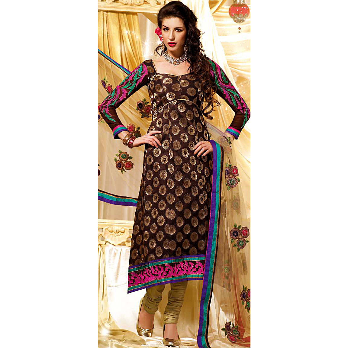 Seal-Brown Designer Choodidaar Suit with Brocaded Kameez and Embrodiered Patch Border