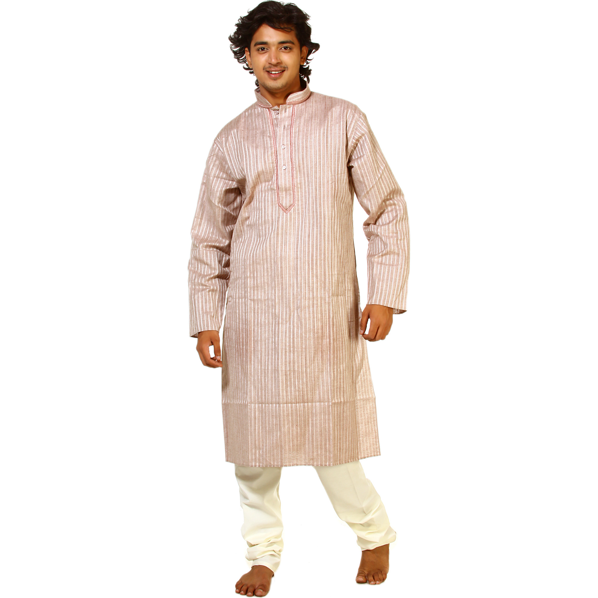 Shadow-Mauve Kurta Pajama with Embroidery on Neck and All-Over Woven Stripes