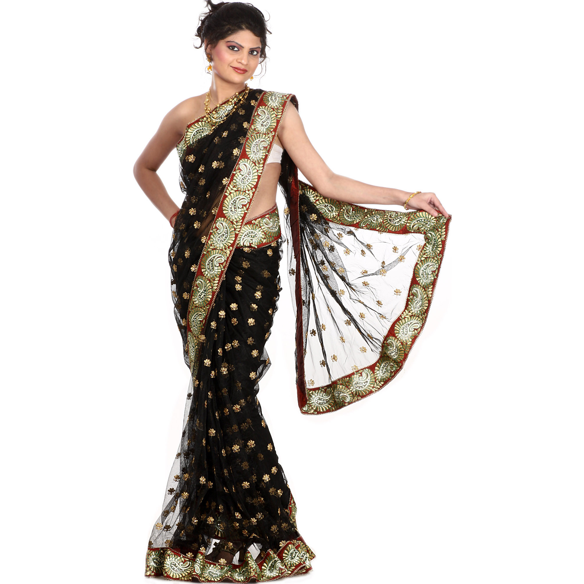 Black Wedding Sari with Golden Thread Embroidered Bootis and Paisley Patch Border