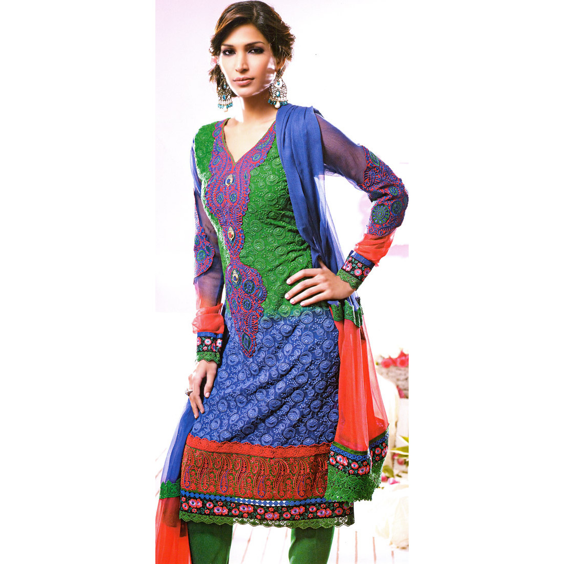 Tr-Color Choodidaar Kameez Suit with Patchwork and Self-Colored Embroidery All-Over