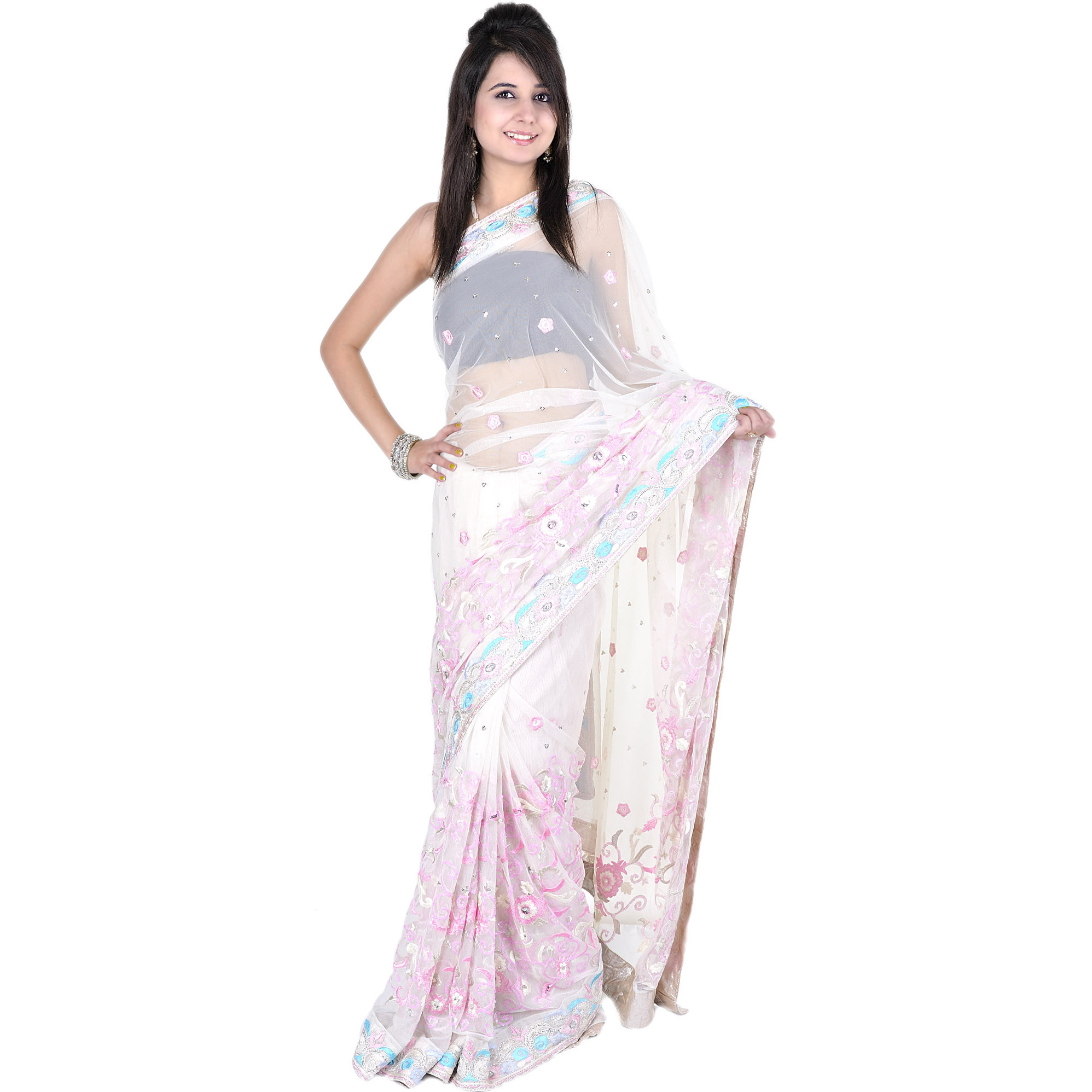 Winter-White Designer Wedding Sari with Ari Embroidery and Sequins in Pink