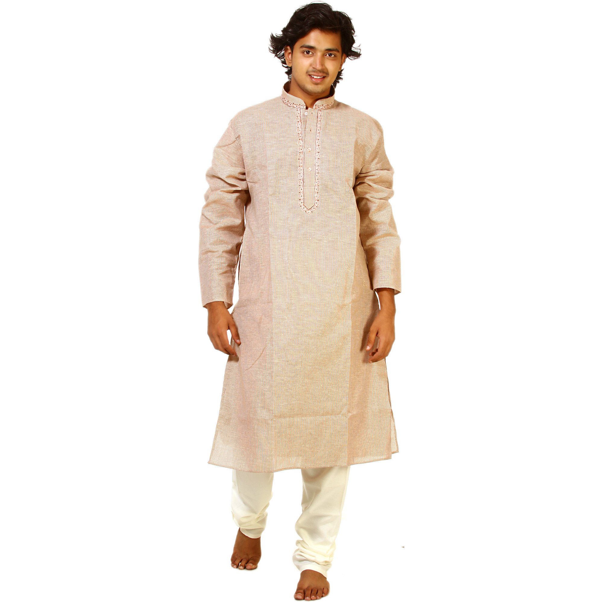 Pastel Rose-Pink Kurta Pajama with Embroidery on Neck and Woven Stripes