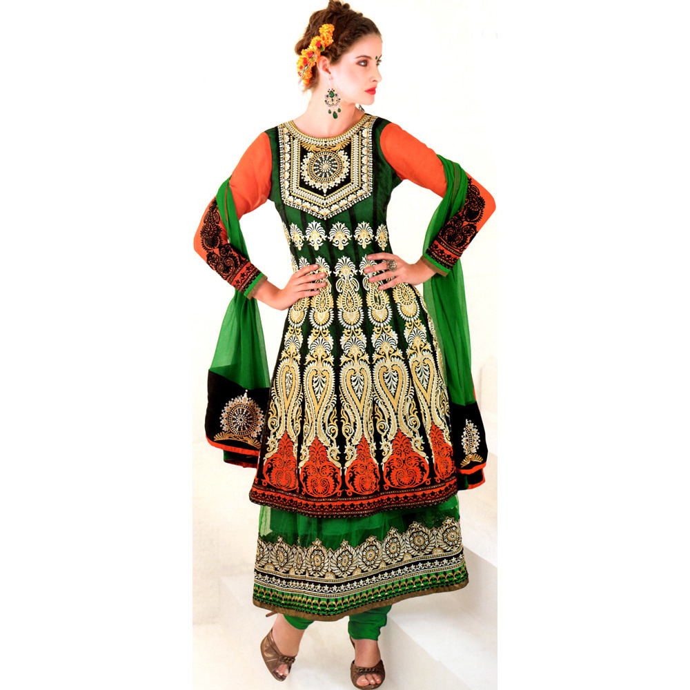Shady Glade-Green and Orange Designer Choodidaar Kameez Suit with Metallic Thread Embroidery
