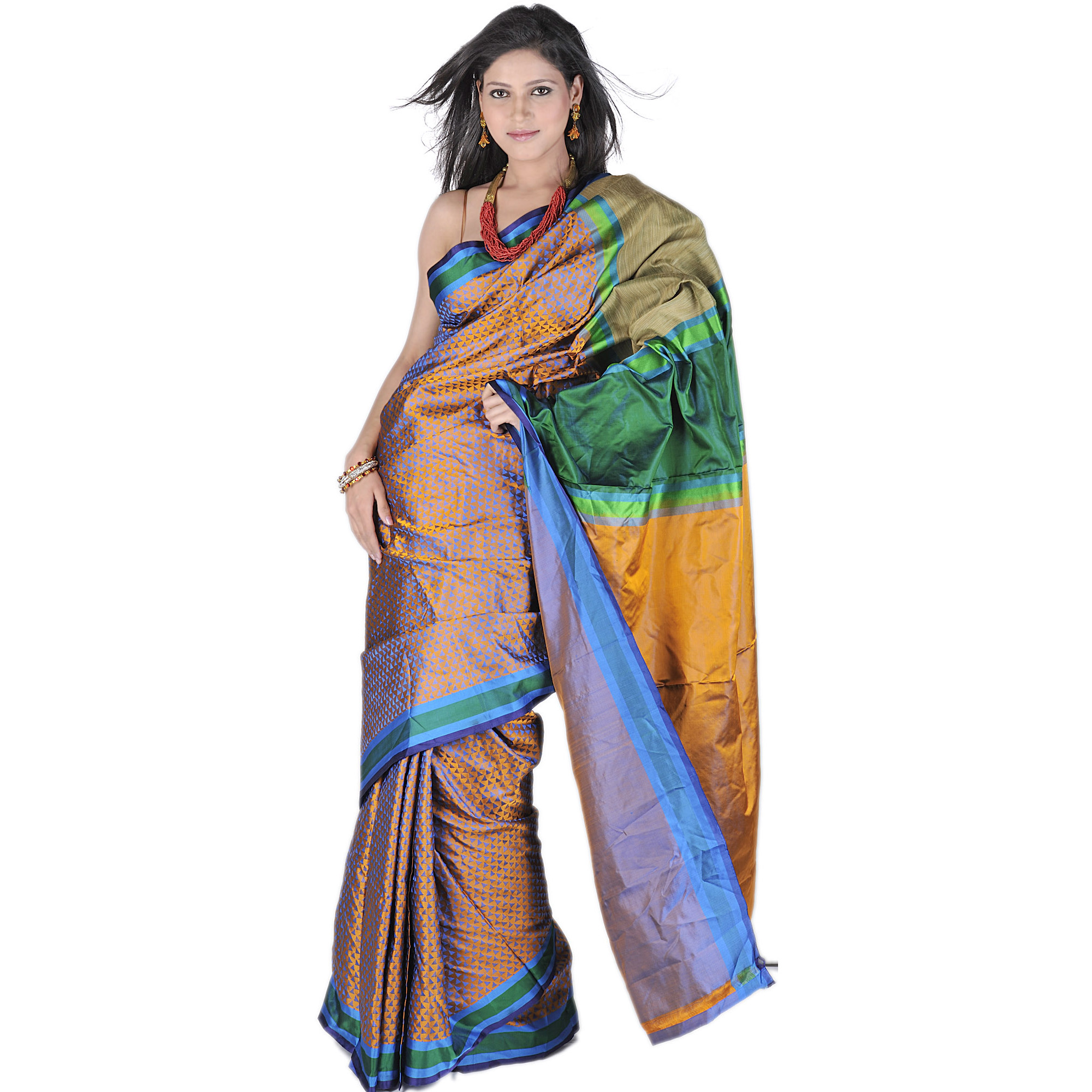 Mustard Banarasi Sari With All Over Woven Triangles And Brocaded Aanchal