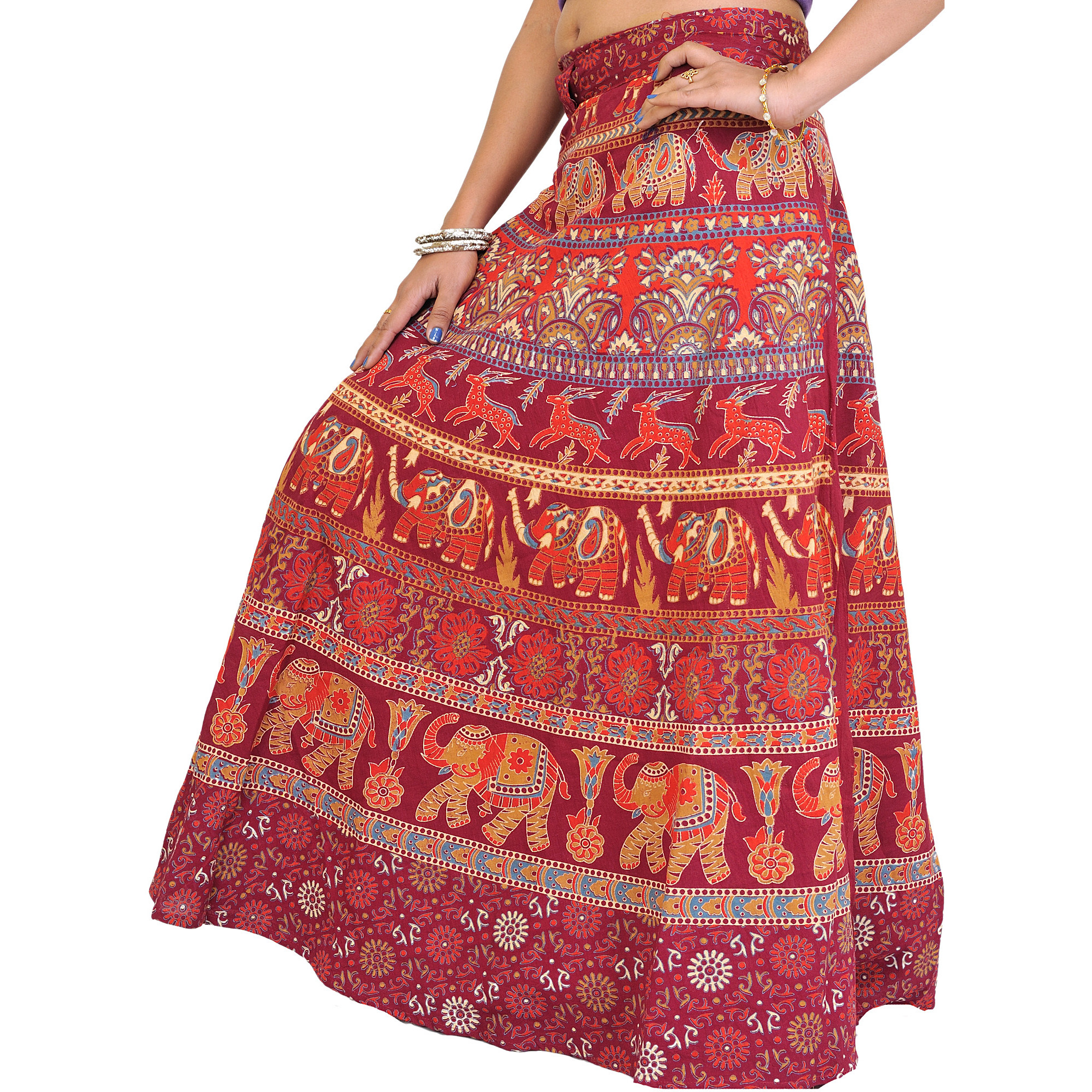 Wrap-Around Long Skirt with Printed Elephants and Deer