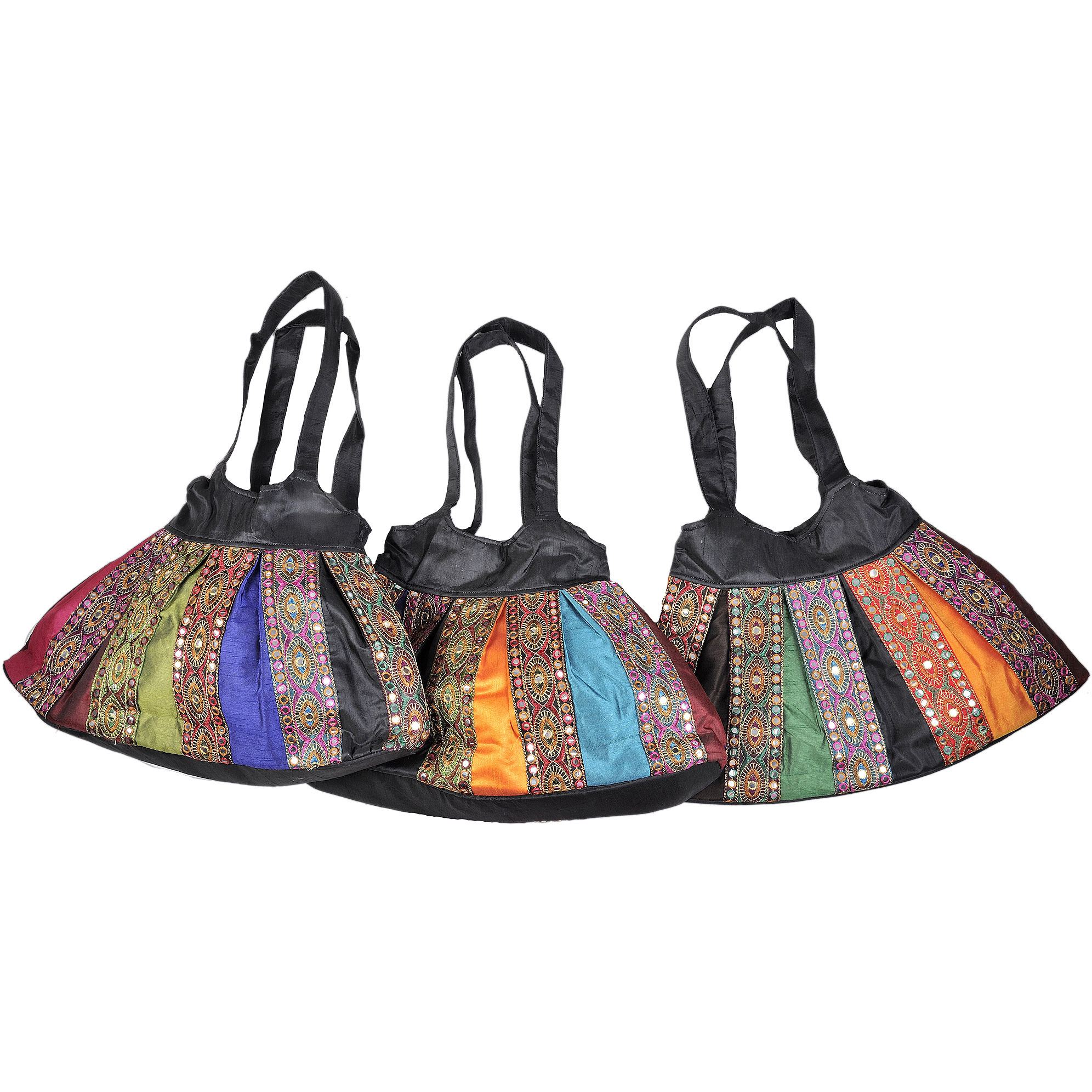 Lot of Three Shopper Bags from Gujarat with Embroidery and Patch Border