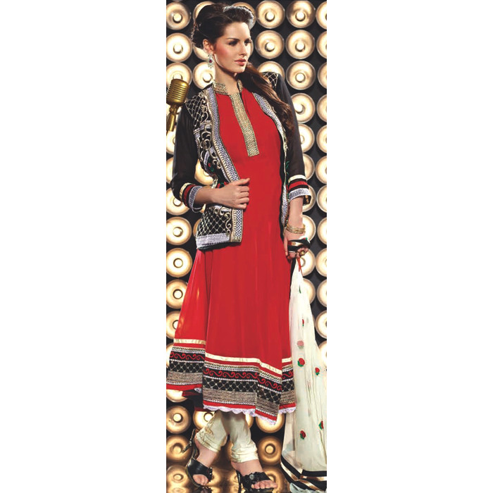 Tomato-Red Designer Flaired Choodidaar Kameez Suit with Embroidery on Neck and Bolero Jacket