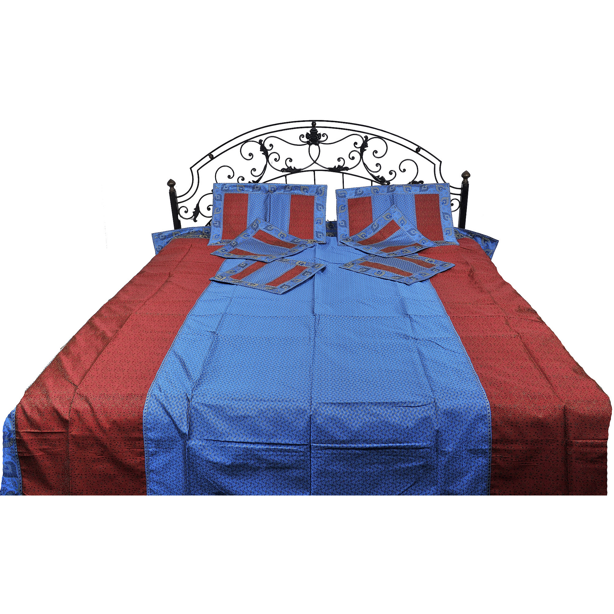 Swedish-Blue and Red Seven Piece Bedspread with Tanchoi Weave