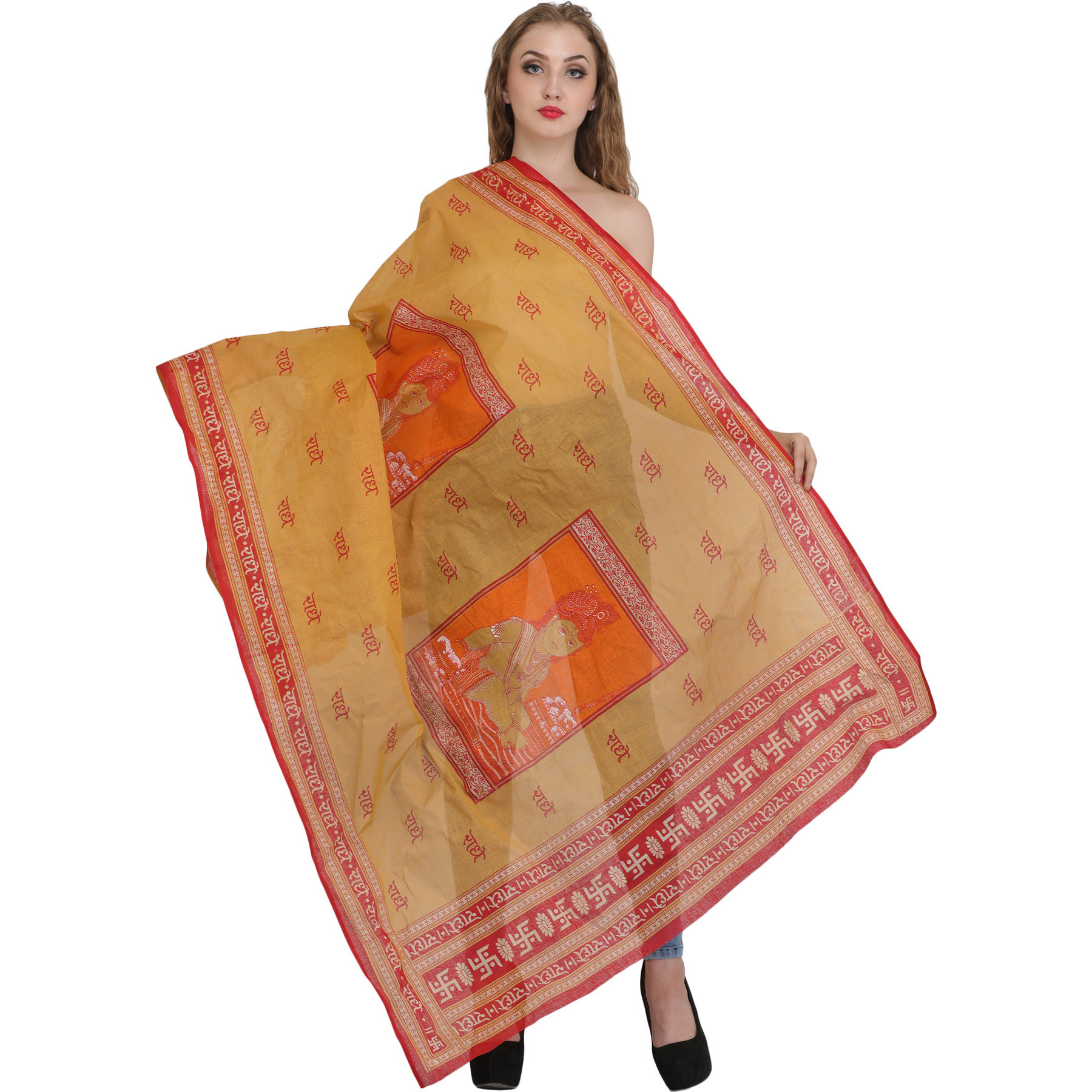 Radhey Radhey Prayer Shawl with Printed Little Krishna