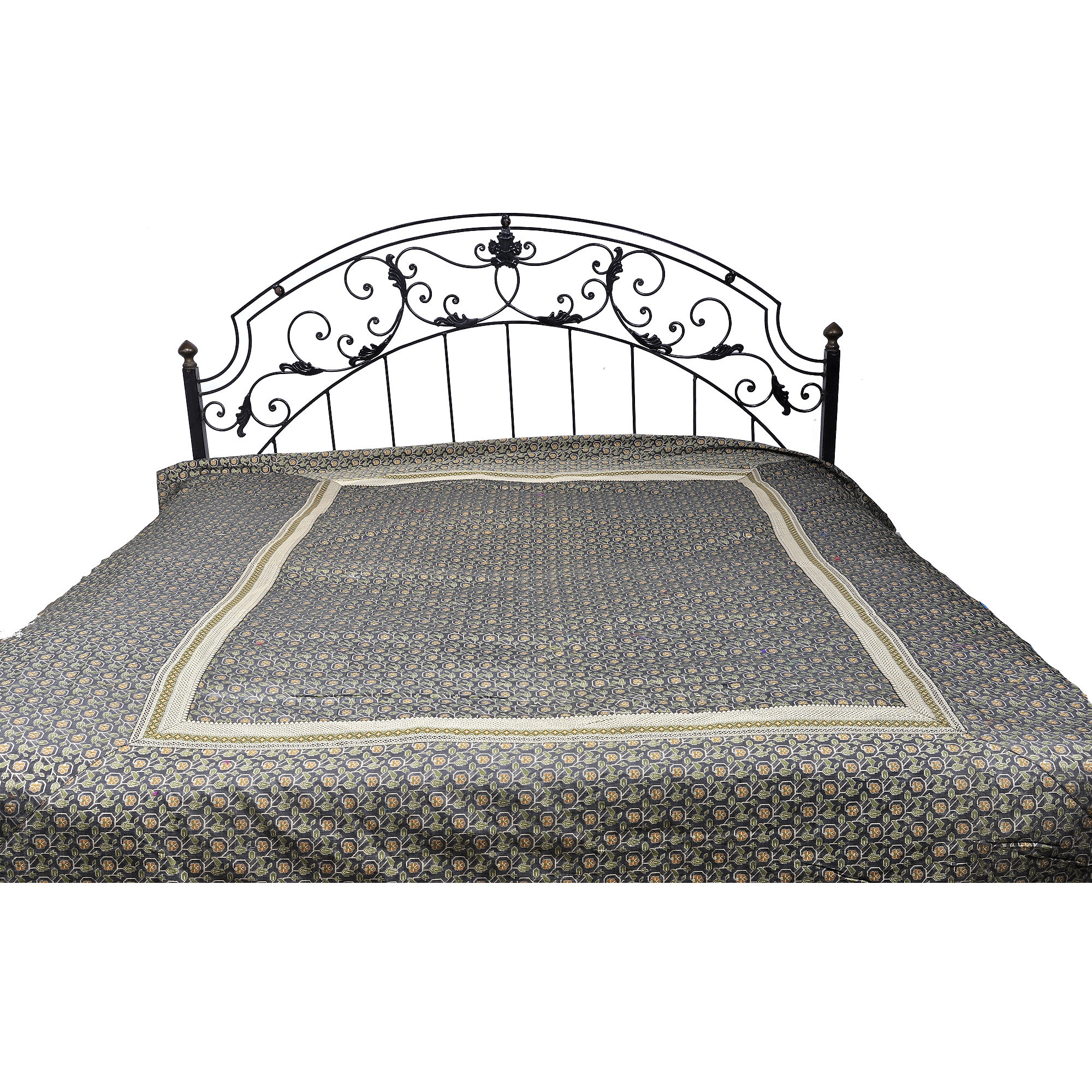 Steel-Gray Banarasi Bedspread with All-Over Woven Flowers