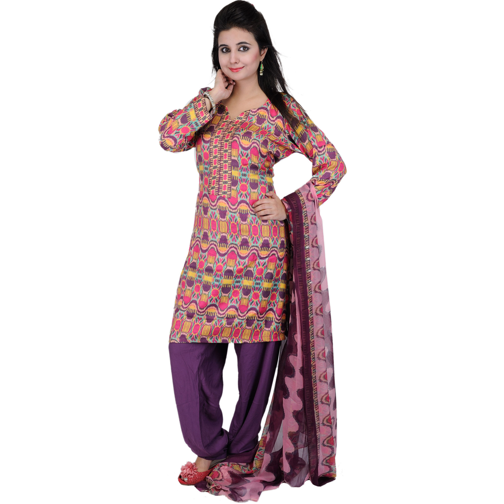 Multi-Color Choodidaar Kameez Suit with Digital Ikat Print