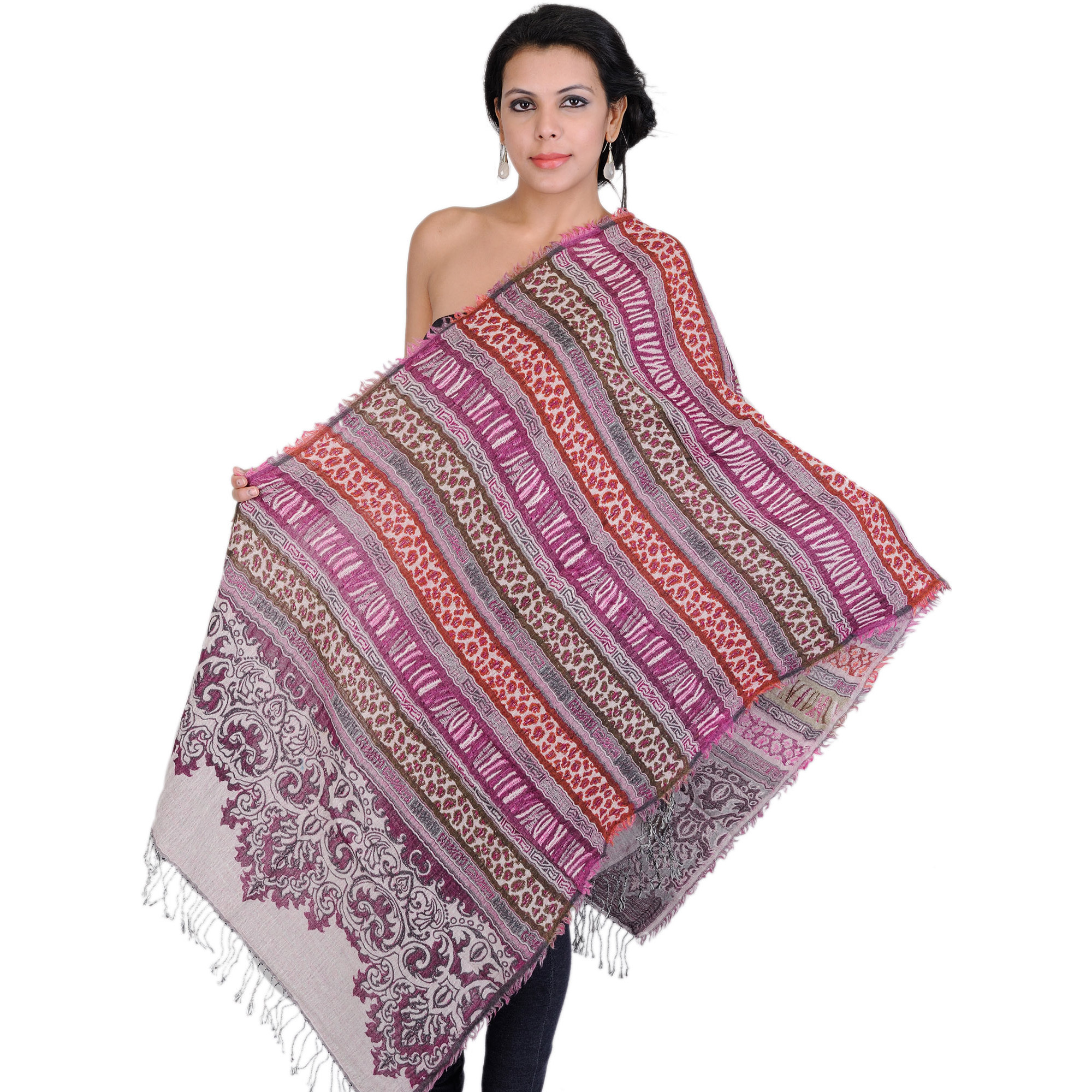 Multi-Color Jamawar Reversible Stole with Wild-life Weave