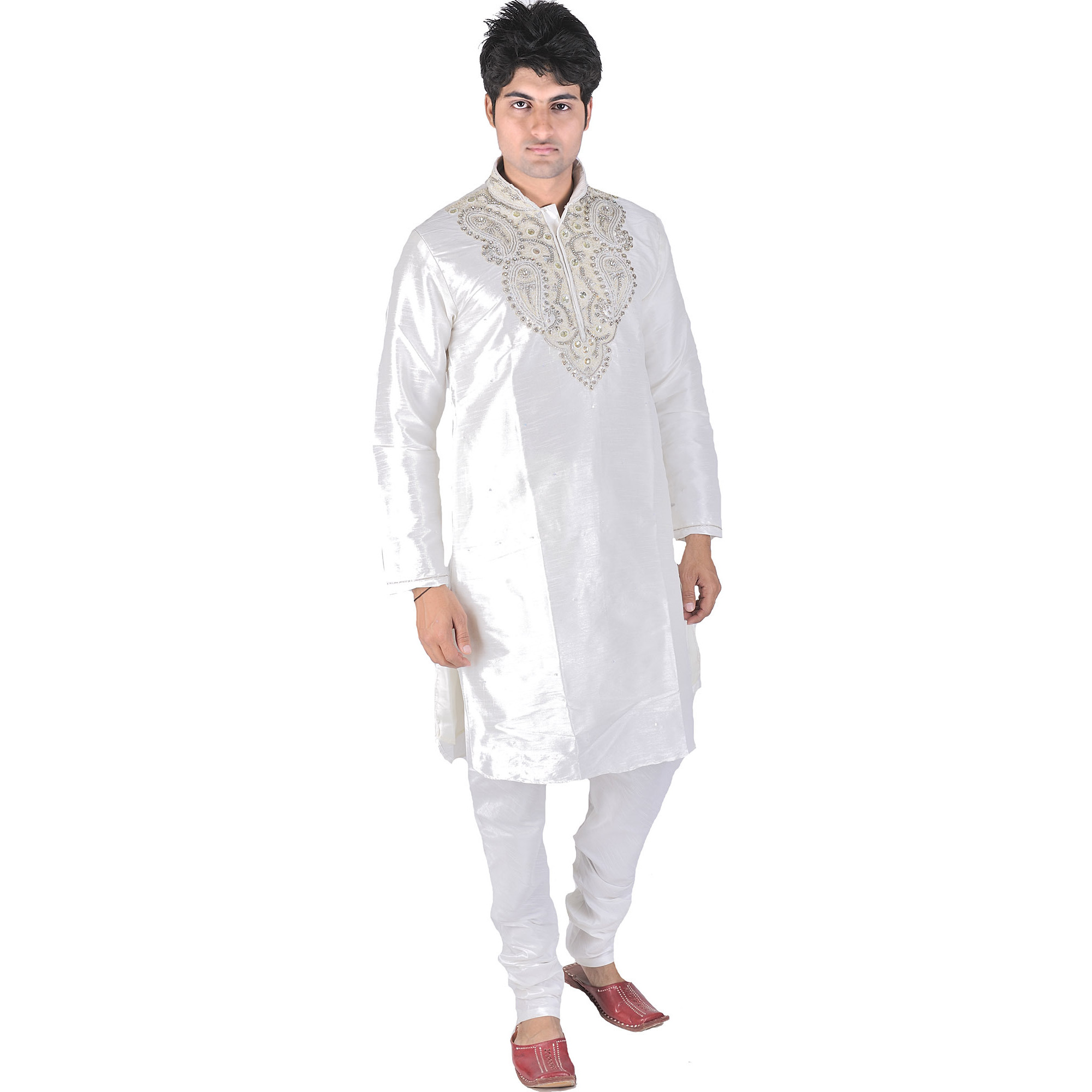 White Wedding Kurta Pajama with Zardozi and Beads Embroidered on Neck