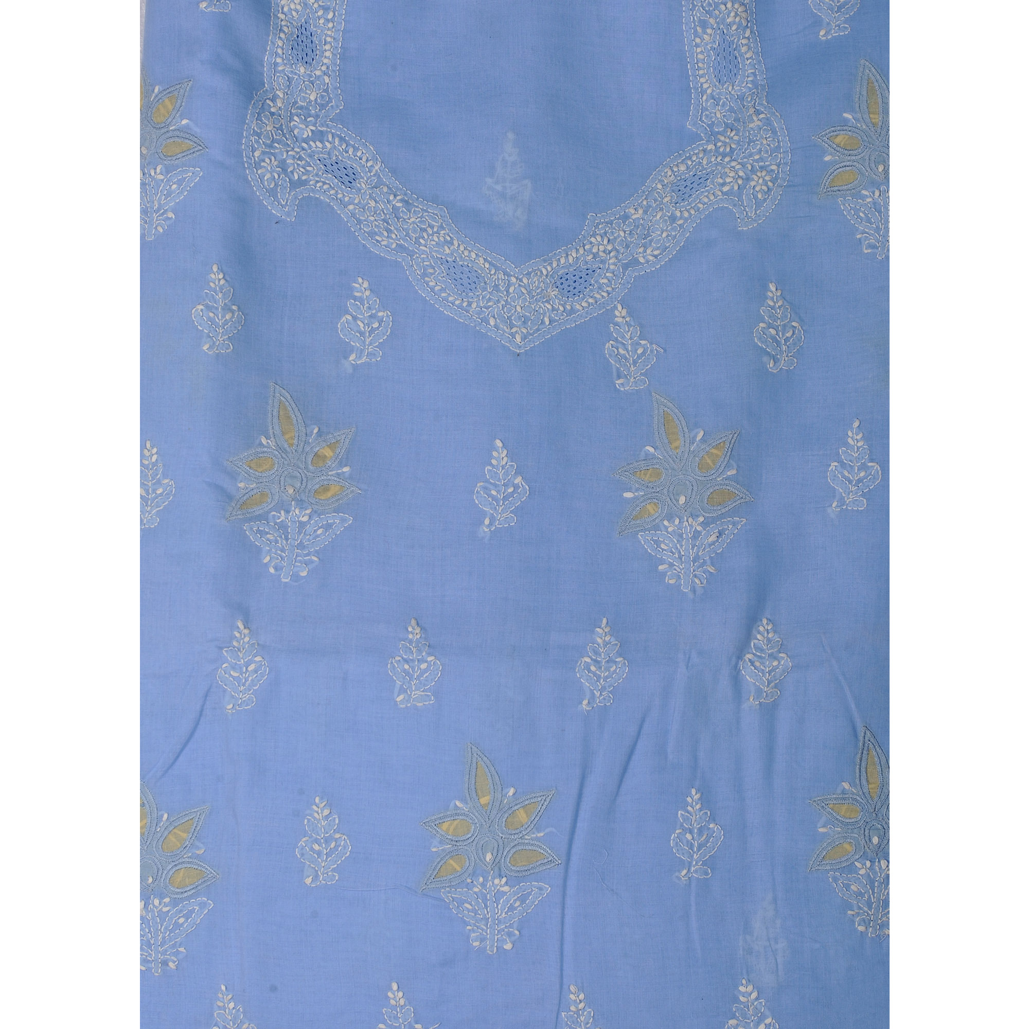 Placid-Blue Salwar Kameez Fabric with Lukhnawi Chikan Embroidery by Hand
