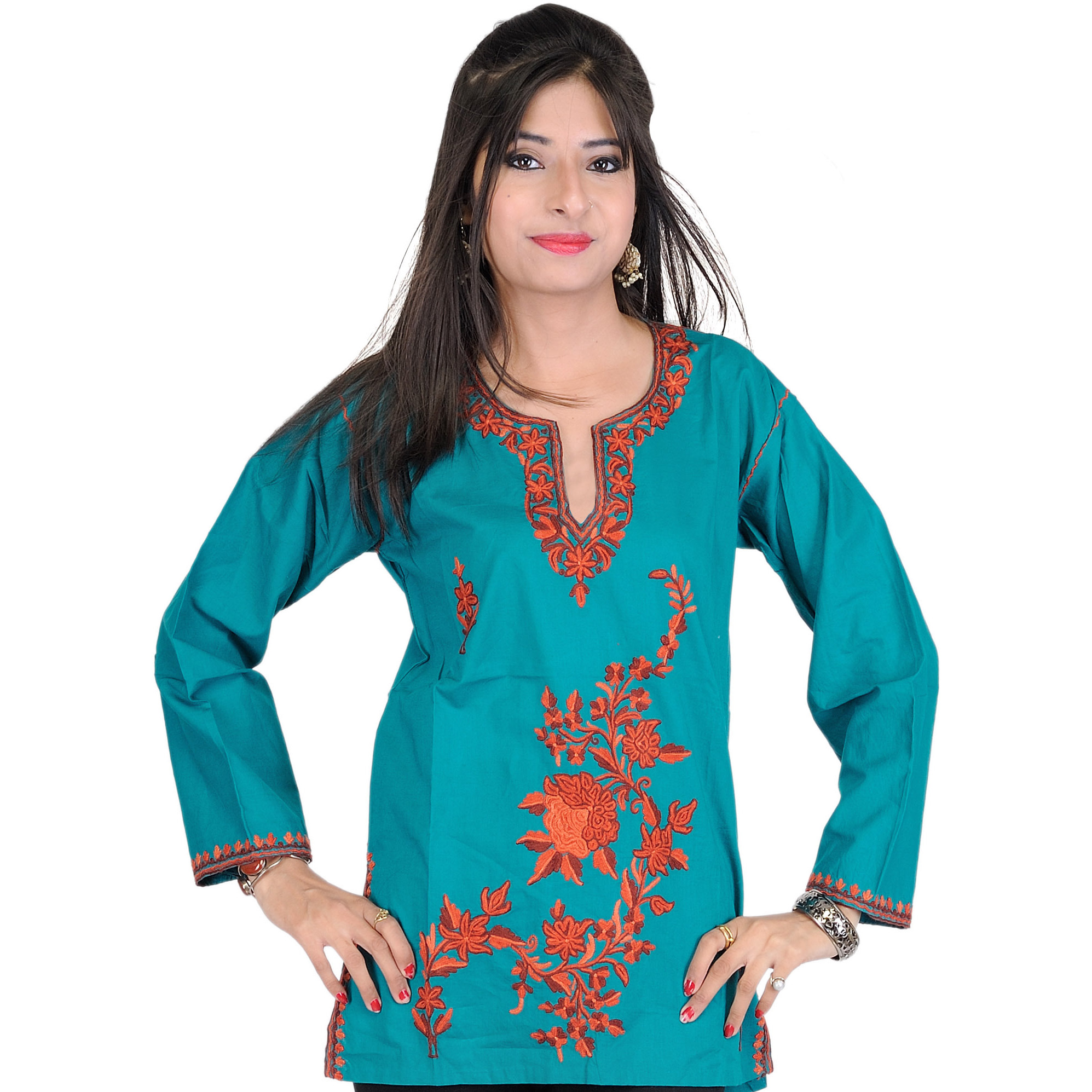 Teal-Green Kurti from Kashmir with Ari Embroidered Flowers by Hand