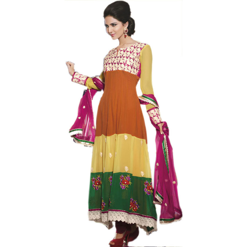 Tri-Color Long Designer Choodidaar Kameez Suit with Ari Embroidered Flowers and Crochet Border