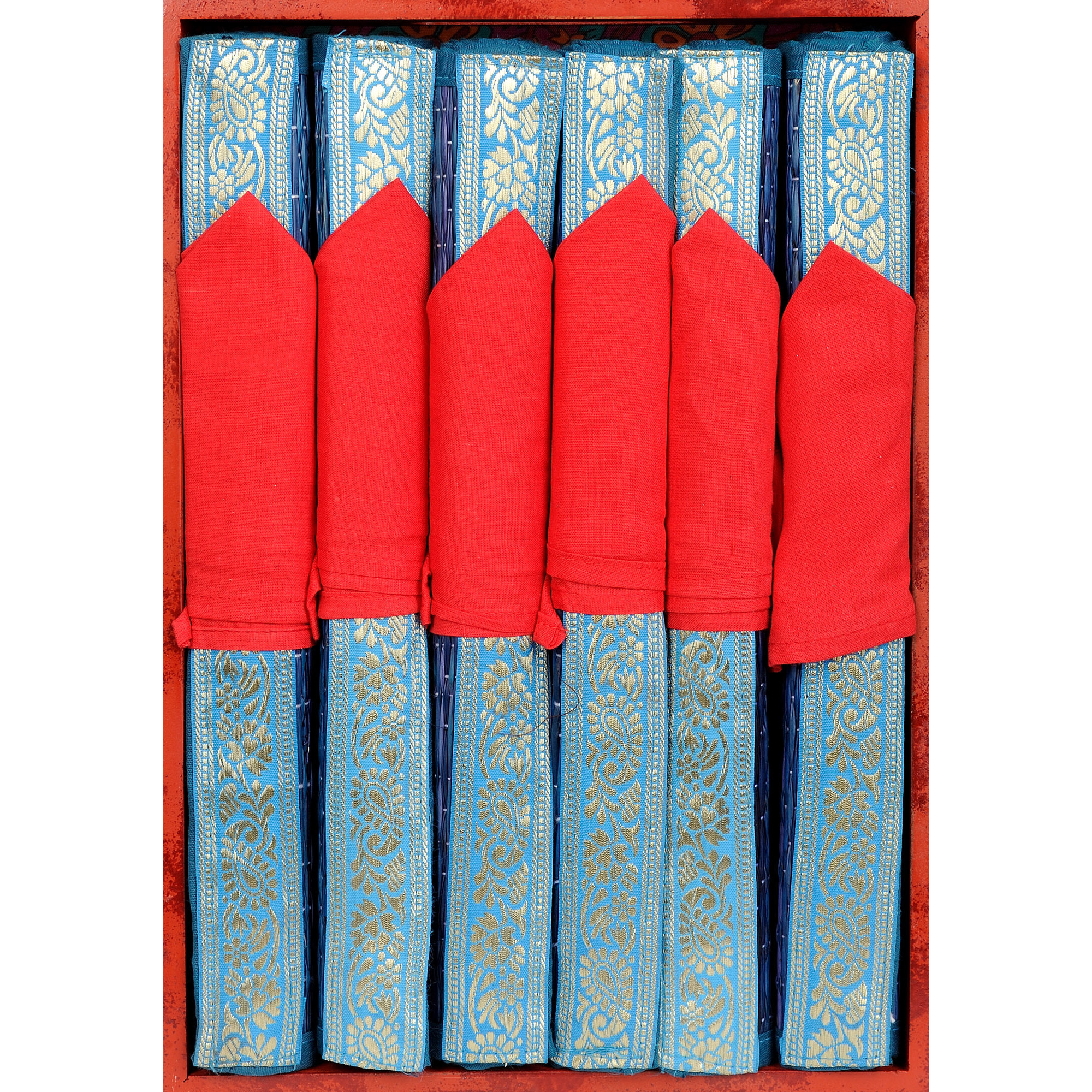 Set of Six Coronet-Blue Dining Table Mats with Patch Border
