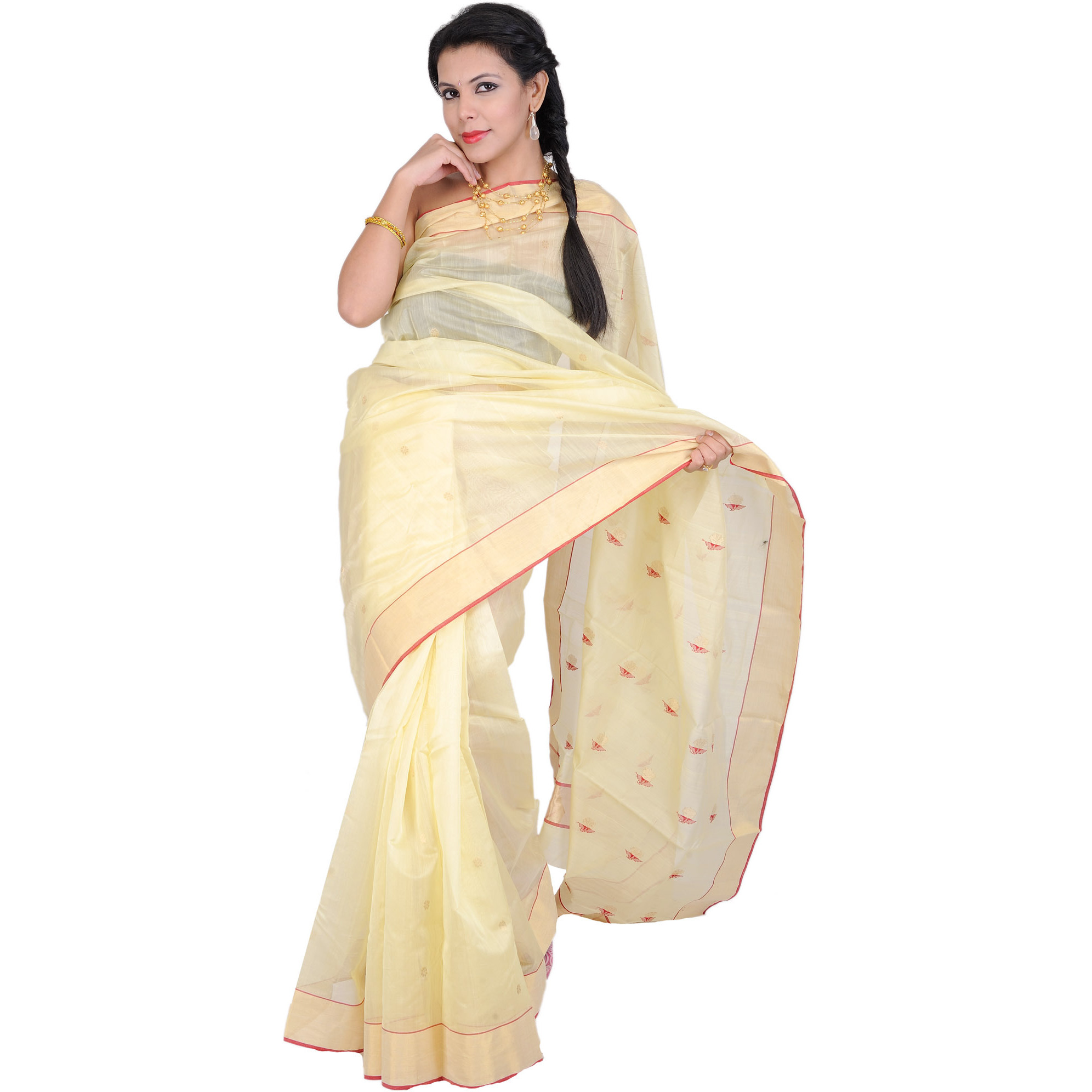 French-Vanilla Chanderi Sari with Zari Bootis on Aanchal and Golden Border