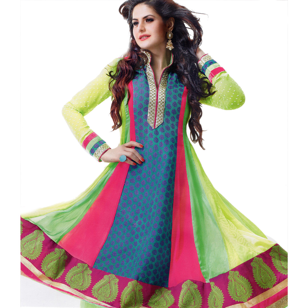 Tri-Color Anarkali Choodidaar Kameez Suit with Woven Bootis and Patch Border