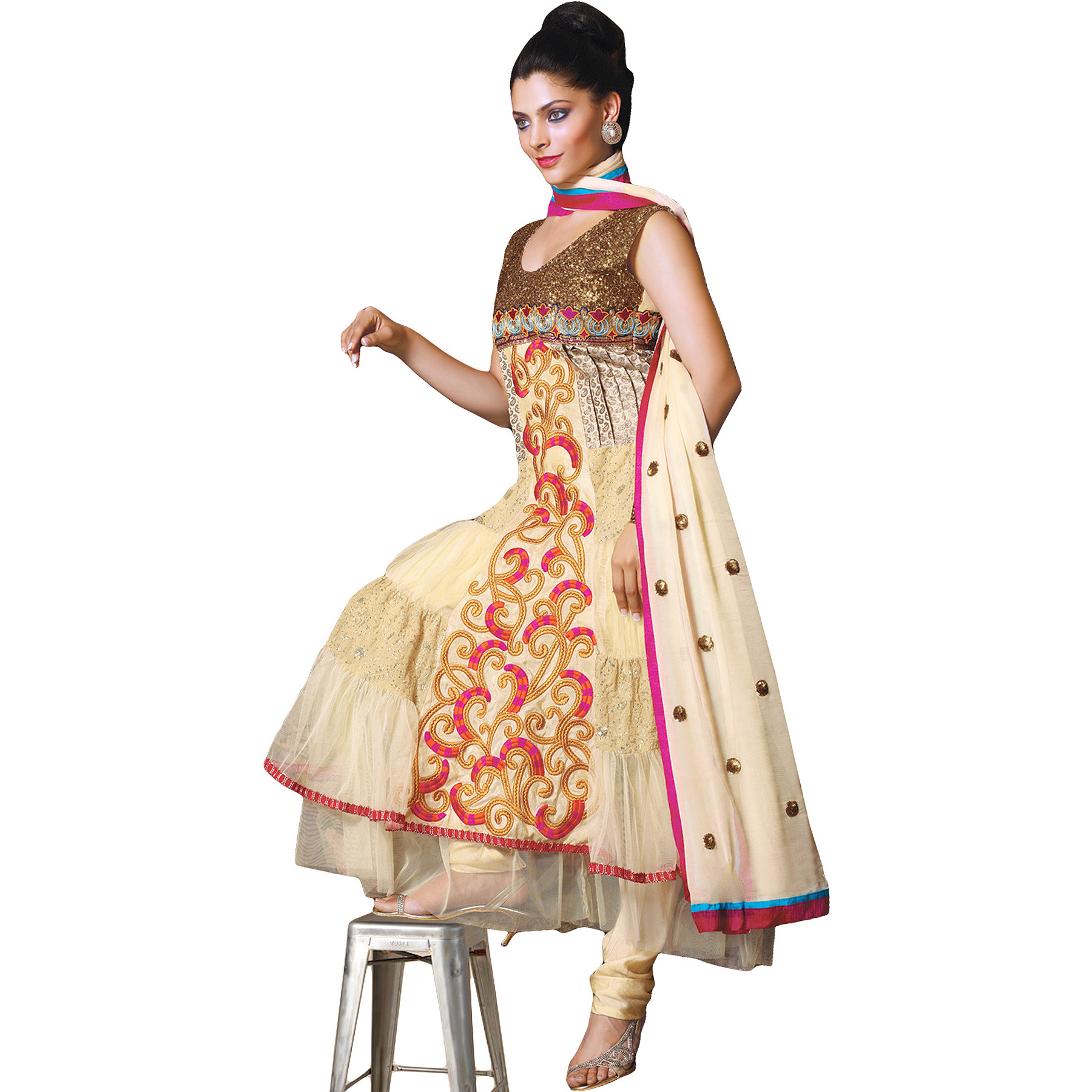 Banana-Crepe Flared Kameez and Choodidaar Suit with Ari Embroidery All-Over