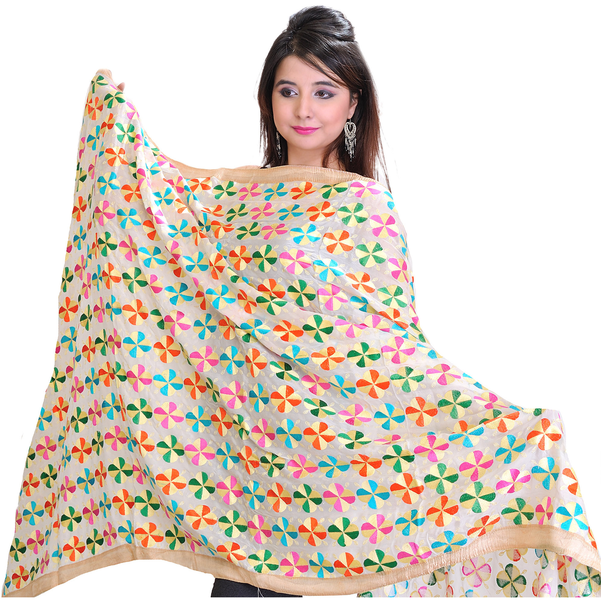 Phulkari Dupatta from Punjab with All-Over Embroidered Flowers