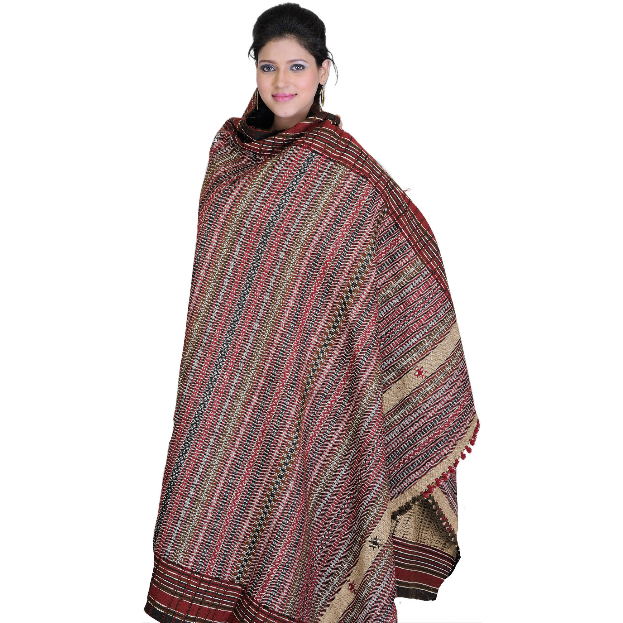 Stucco-Brown Shawl from Kutch with All-Over Weave
