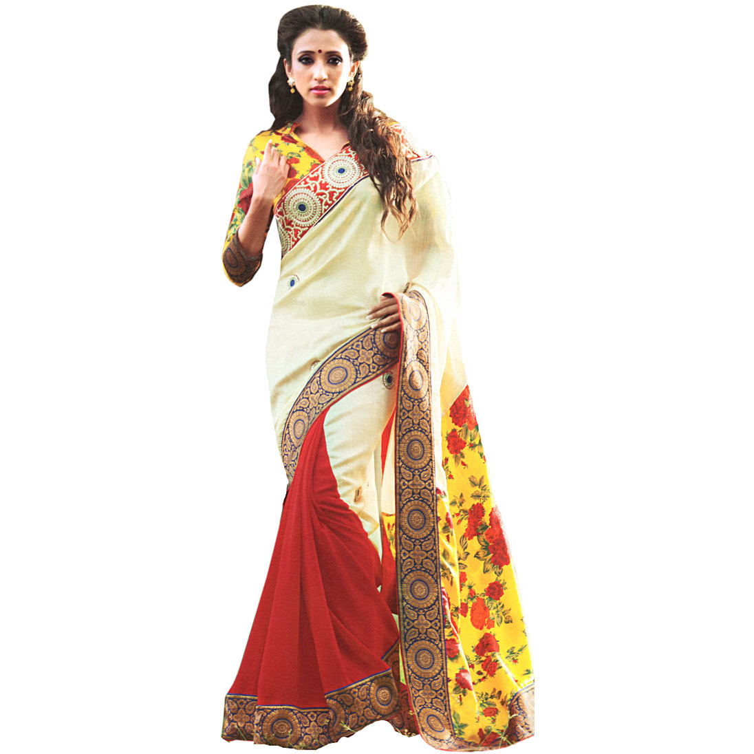 Tri Color Designer Sari with Patch Border and Floral Printed Anchal