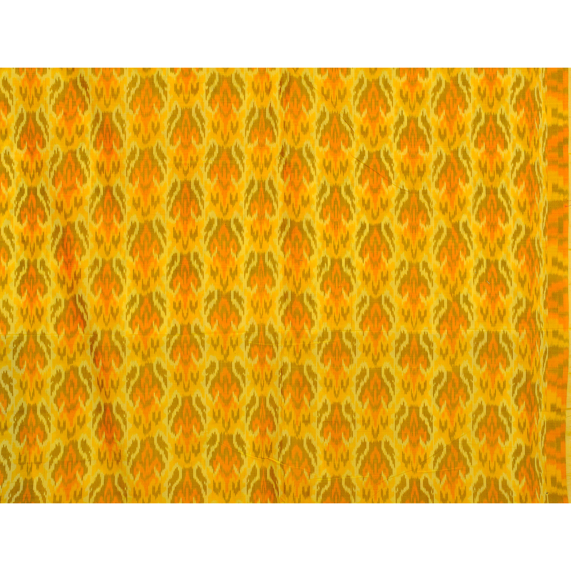 Yellow Handloom Fabric from Pochampally with Ikat Weave