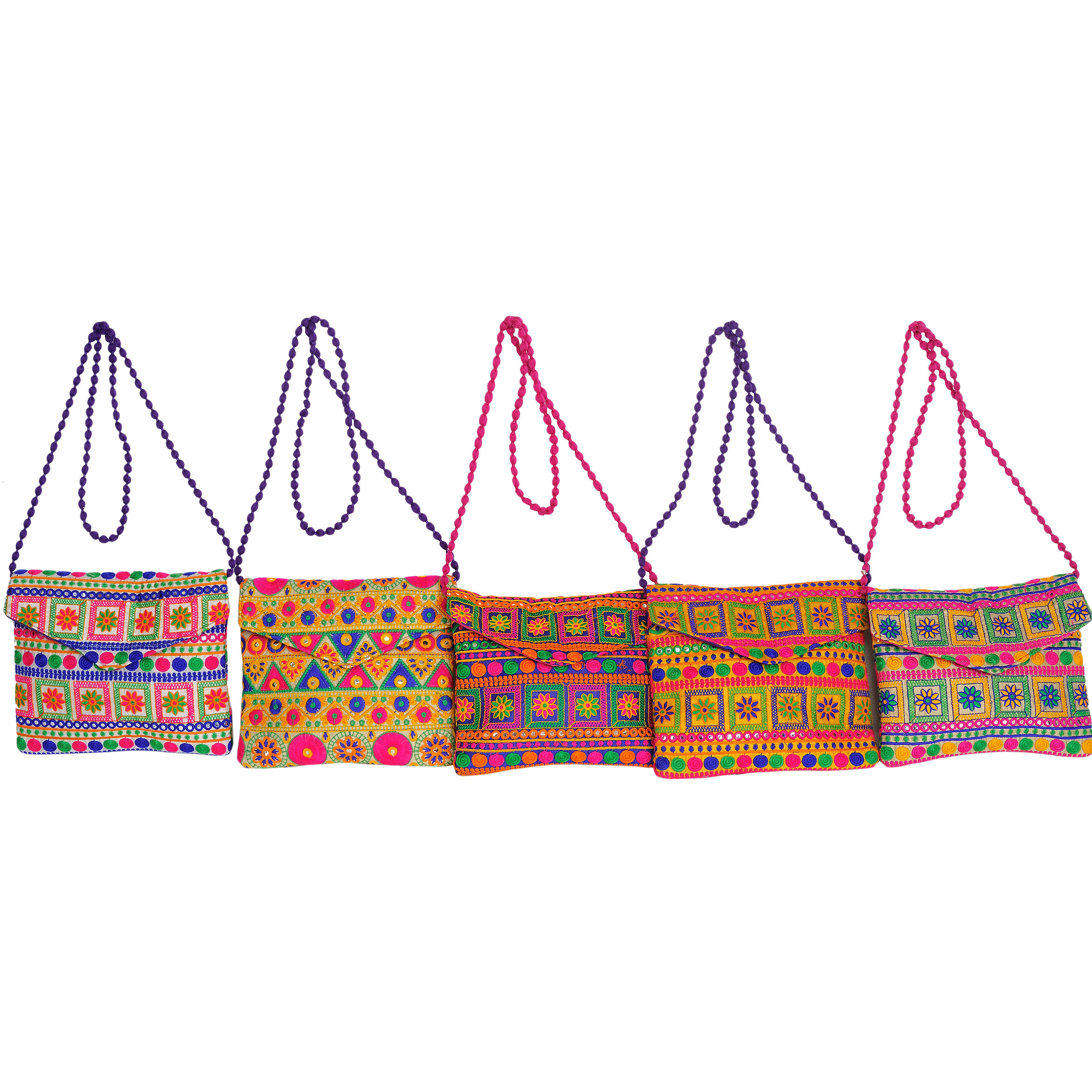 Lot of Five Clutch Bags with Thread Embroidery in Multi-Colored Thread