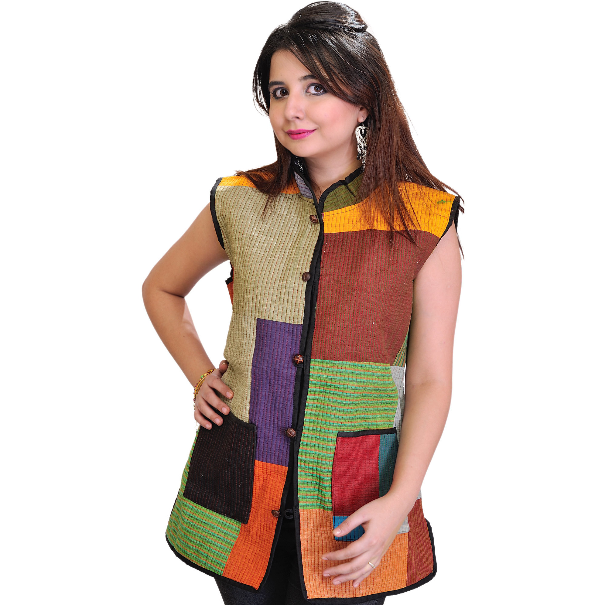 Multi-colored Patchwork Reversible Jacket from Pilkhuwa with Front Pockets and Bagdoo Print