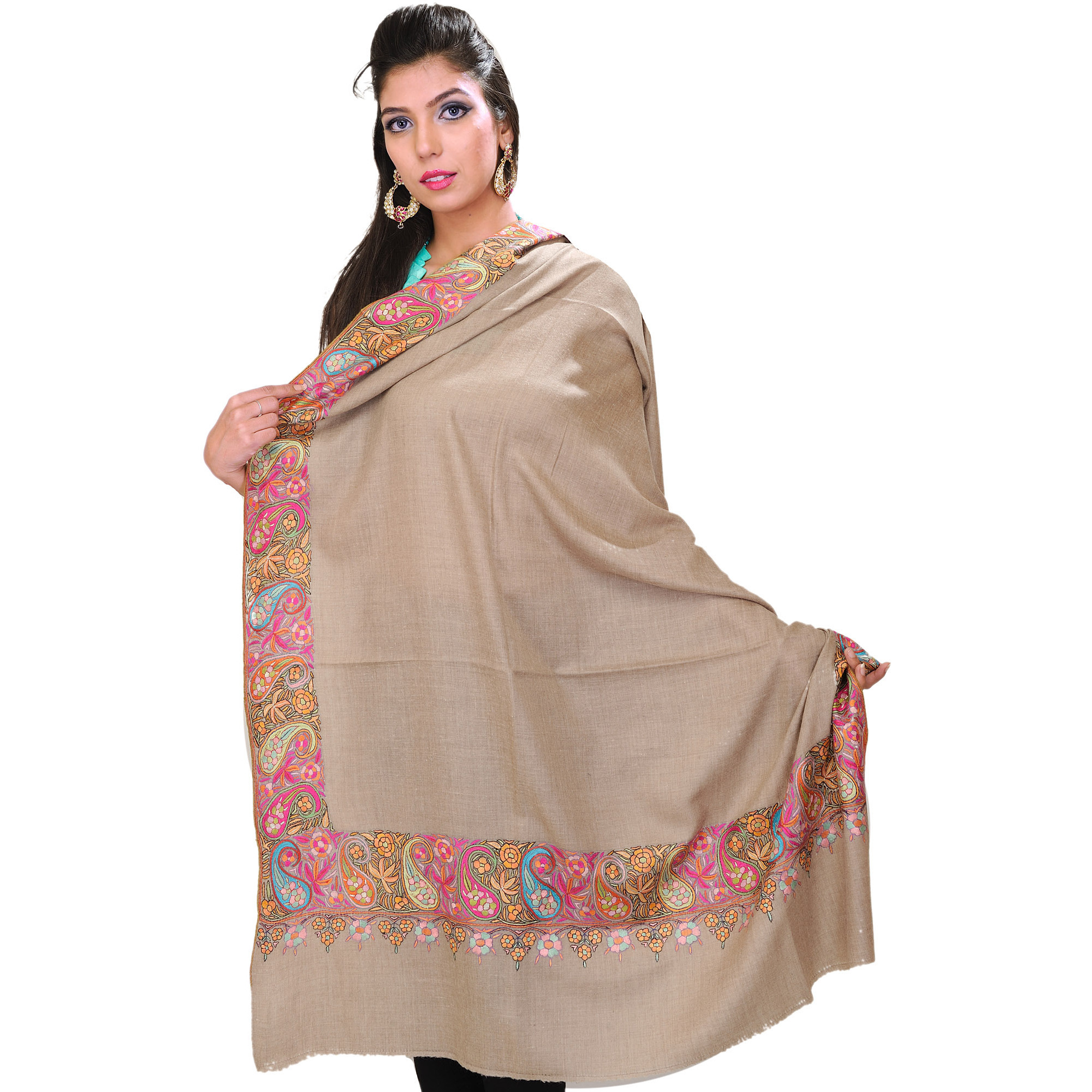 Warm-Taupe Pure Pashmina Shawl from Kashmir with Hand-Embroidered Paisleys on Border