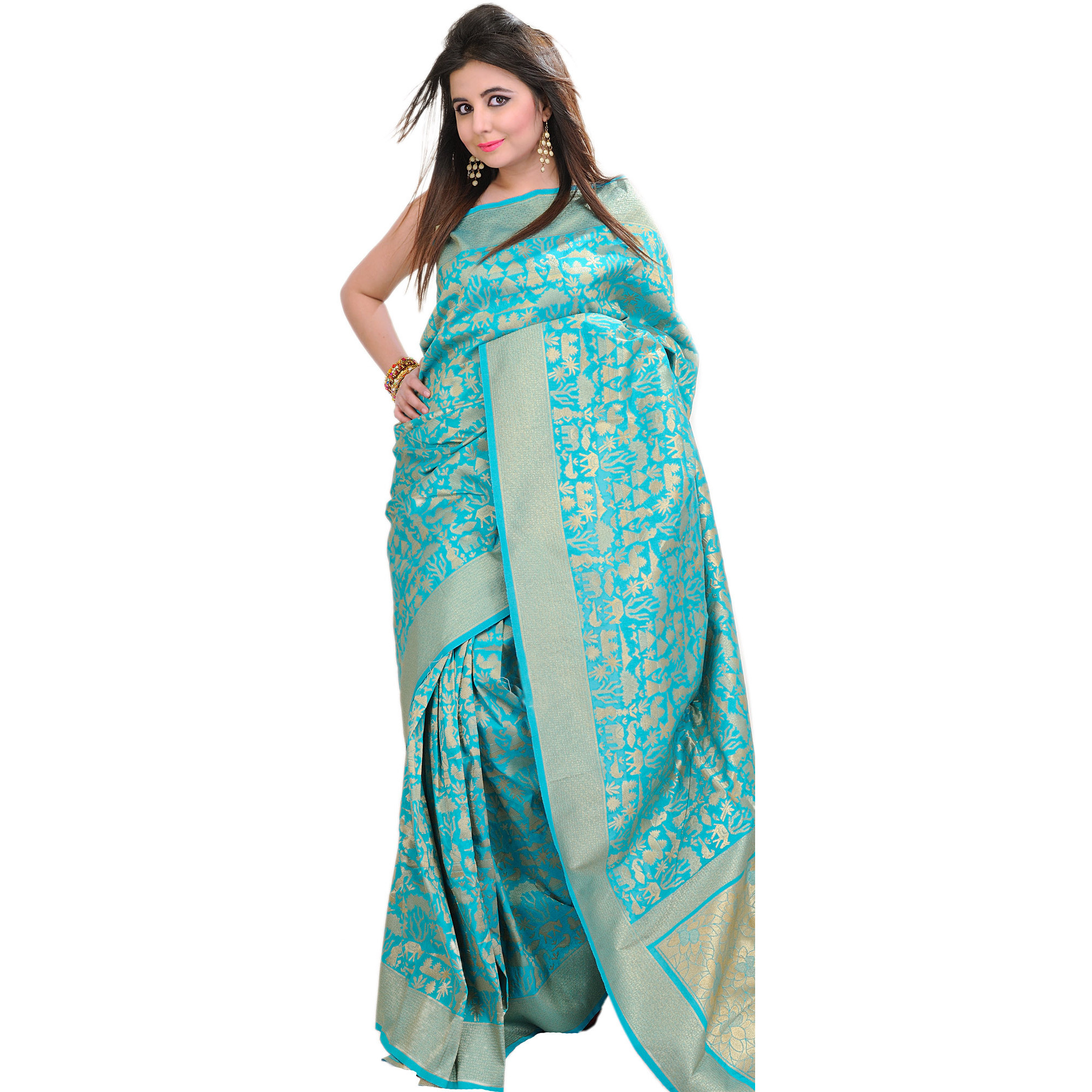 Viridian-Green Banarasi Sari with Woven Egyptian Motifs in Golden Thread