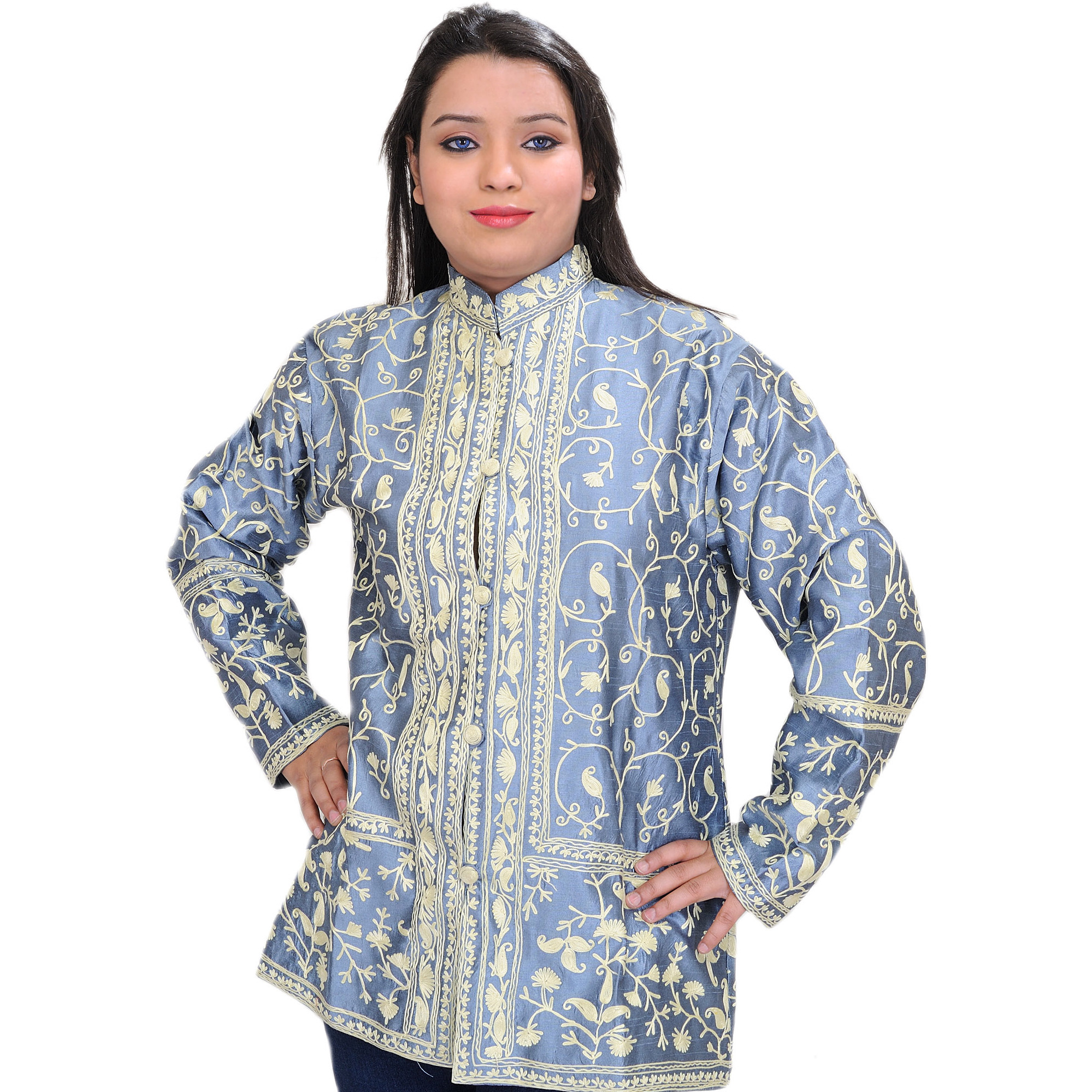 Shadow-Blue Short Kashmiri Jacket with All-Over Ari Embroidered Paisleys