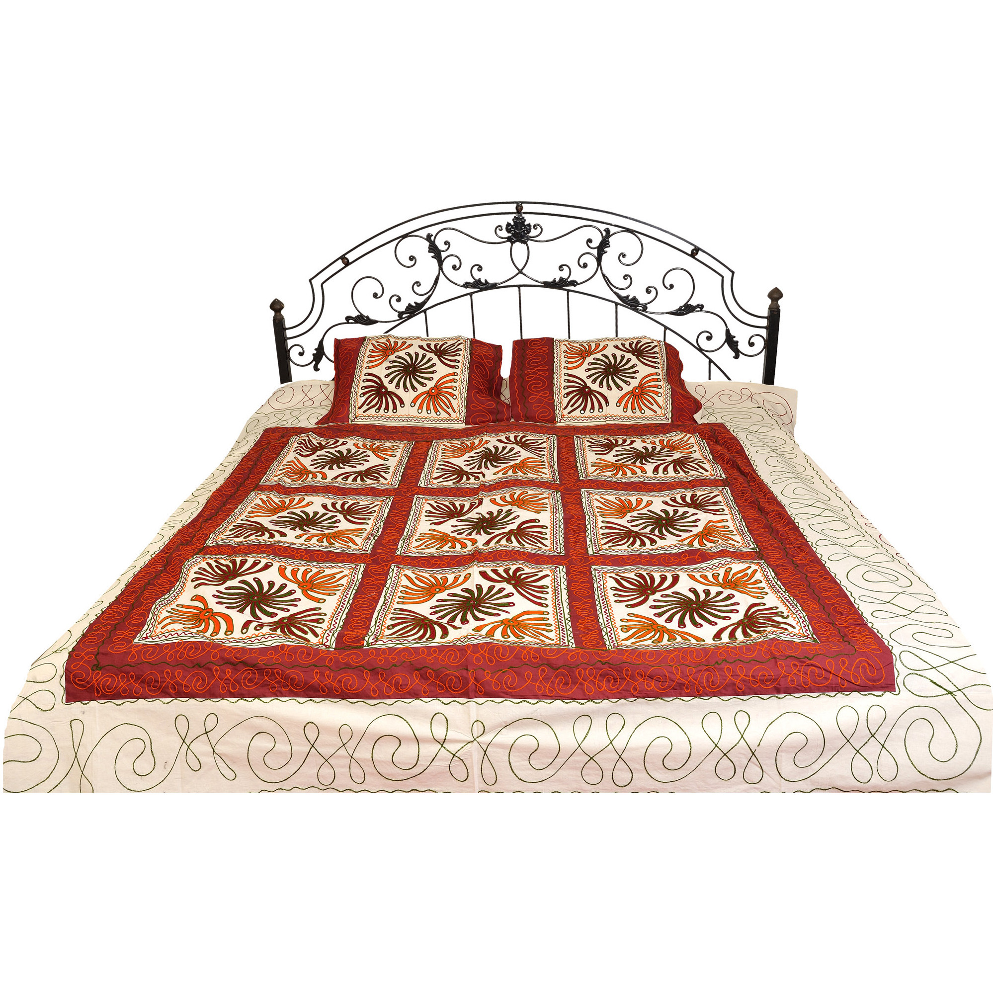 Winter-White and Ruby Bedspread from Gujarat with Embroidered Flowers