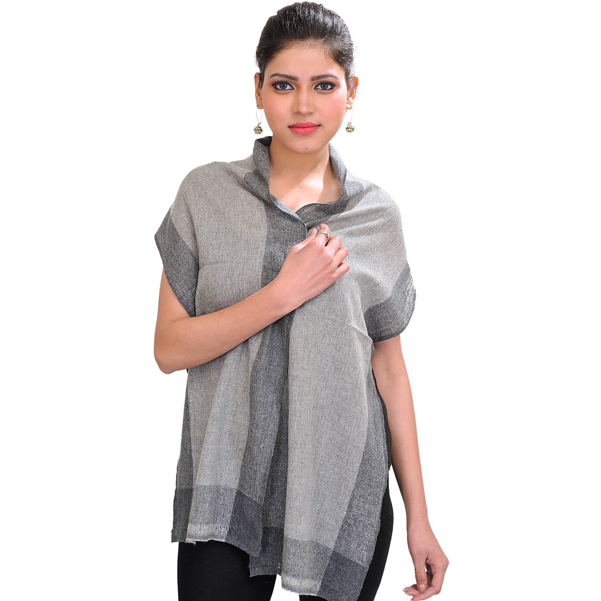 Plain Cashmere Scarf from Nepal with Woven Border