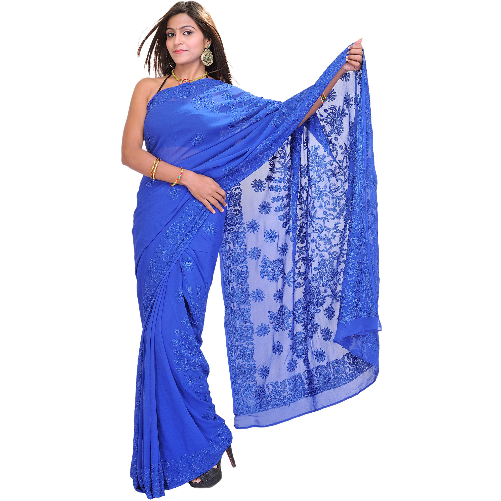 Olympian-Blue Sari From Lucknow with Lukhnavi Chikan Floral Embroidery by Hand