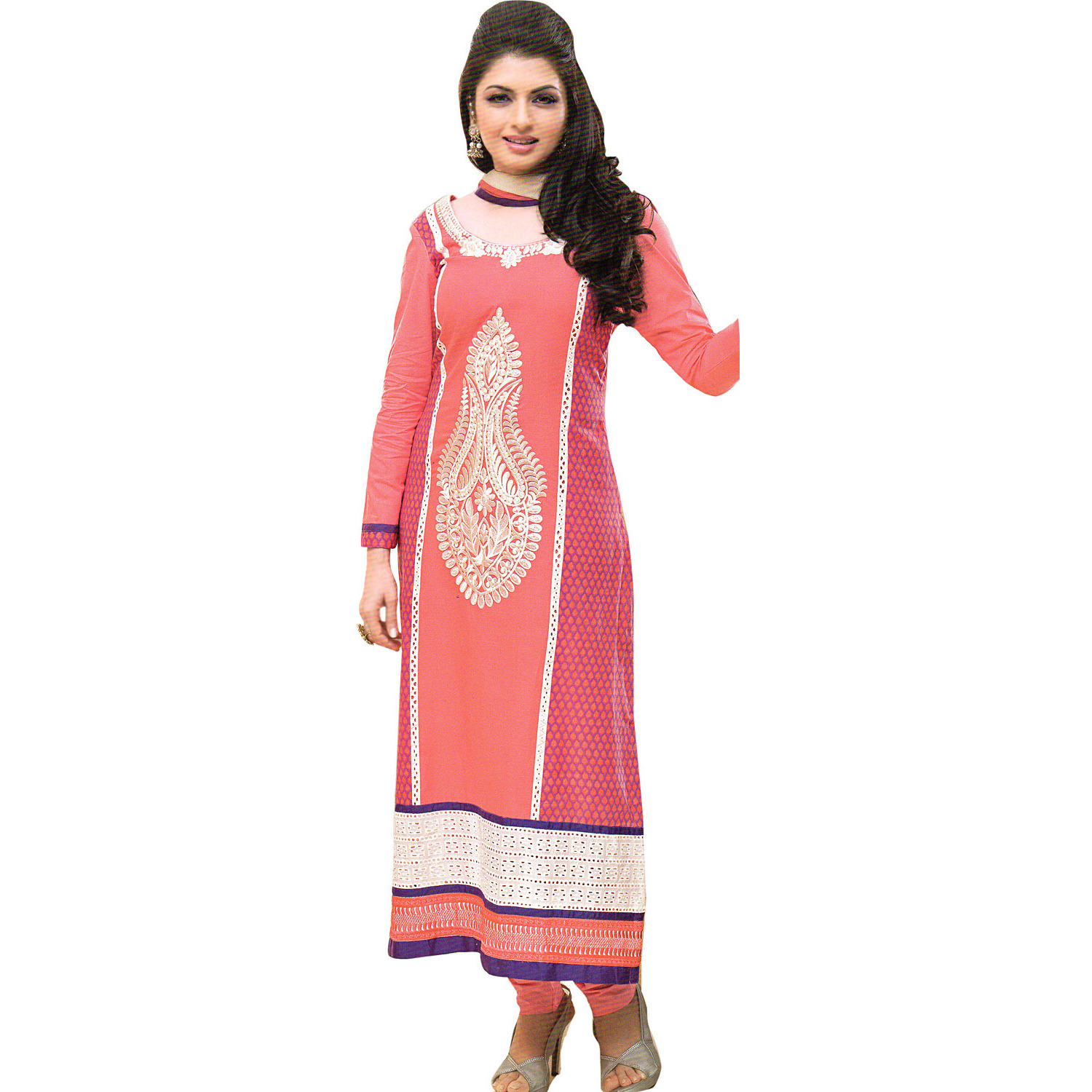 Salmon-Rose Long Choodidaar Kameez Suit with Thread-Embroidery and Crochet Border