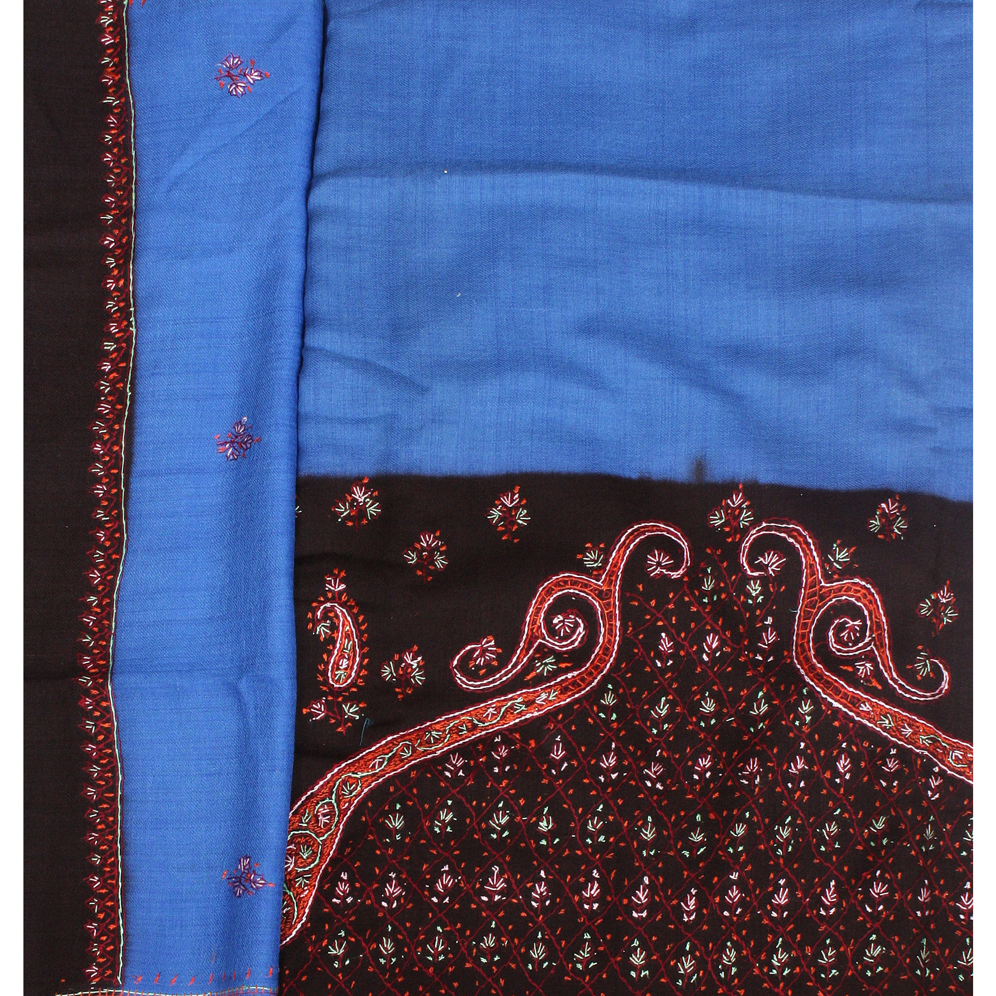 Blue and Black Salwar Kameez Fabric from Kashmir with Sozni Embroidery by Hand