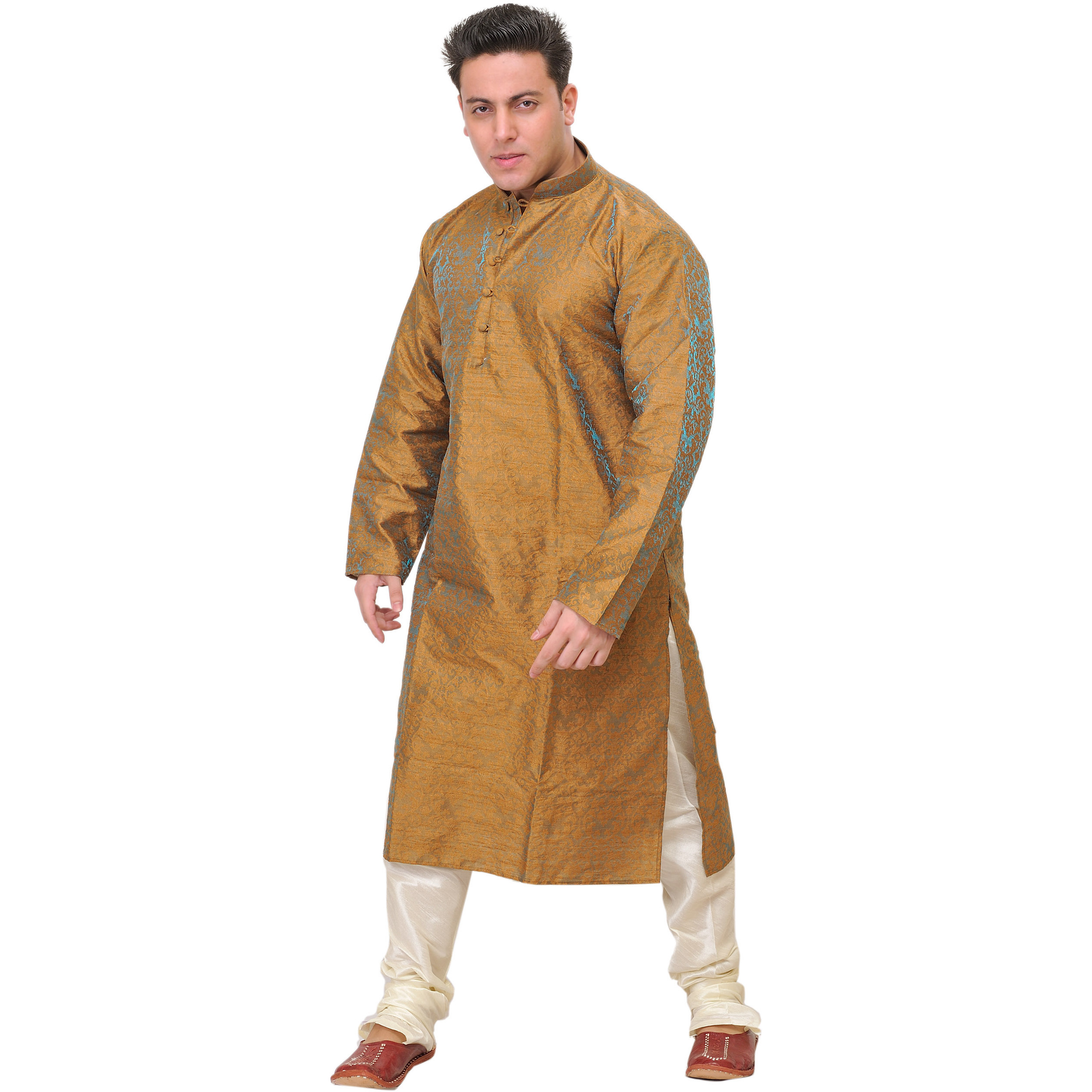 Wedding Kurta Pajama Set with All-Over Woven Floral Motifs in Self
