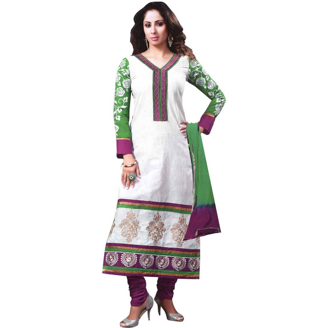 Snow-White Long Choodidaar Kameez Suit with Embroidered Patch and Printed Motifs at Back