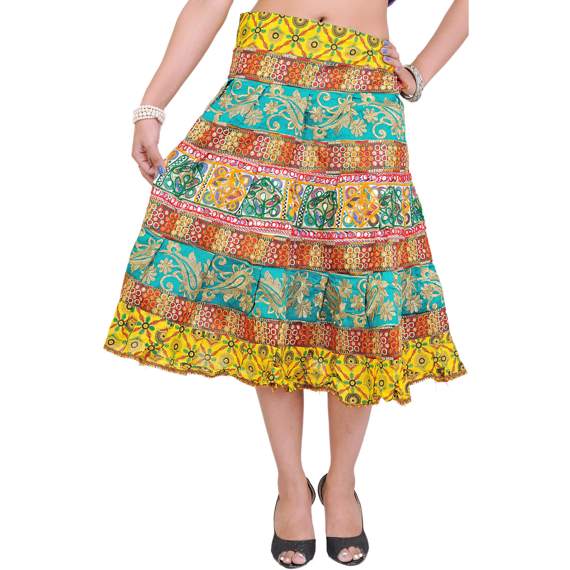 Yellow and Green Midi Ghagra Skirt from Gujarat with Crewel Embroidery and Mirrors