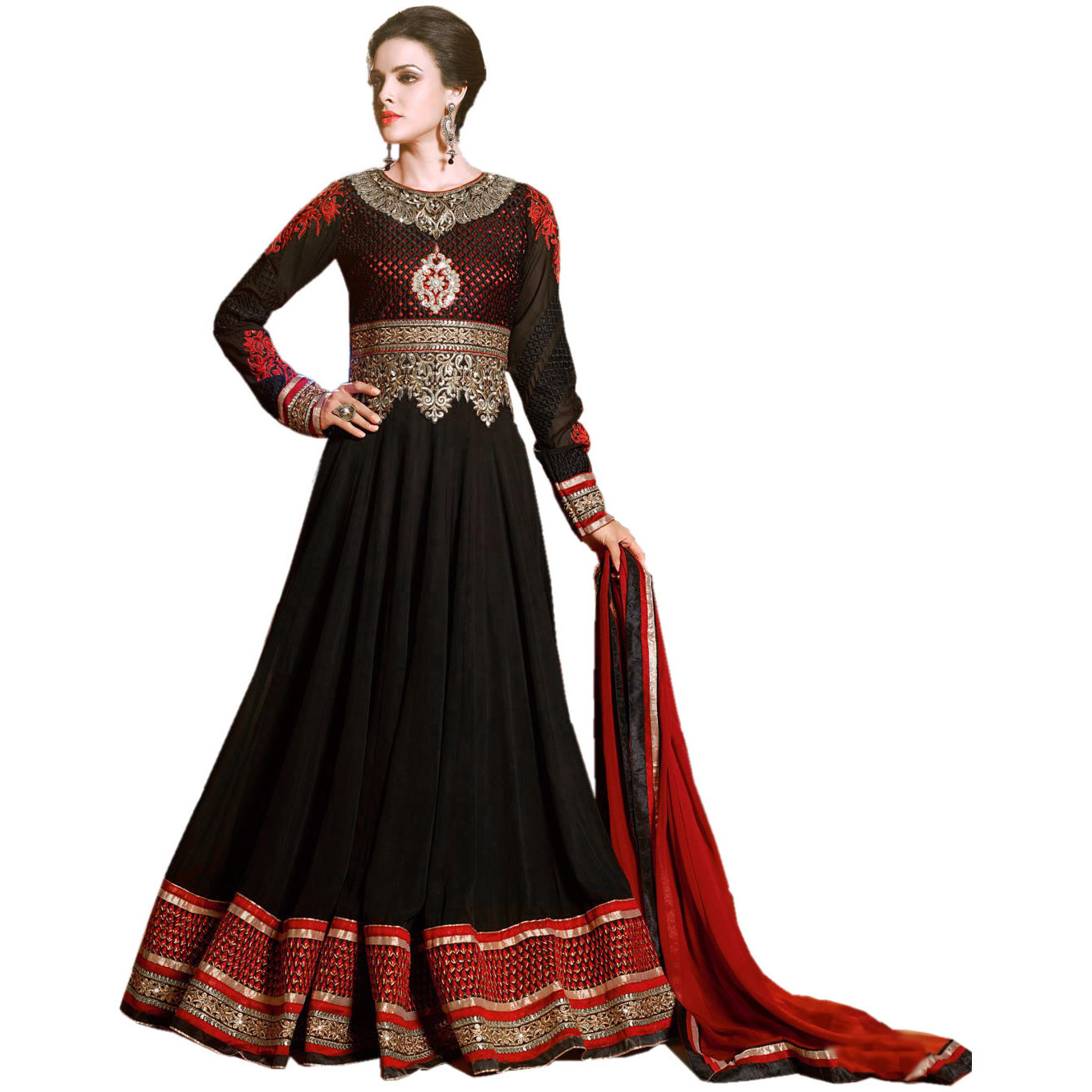 Jet-Black Wedding Long Anarkali Suit with Golden Embroidery and Zardosi Patch