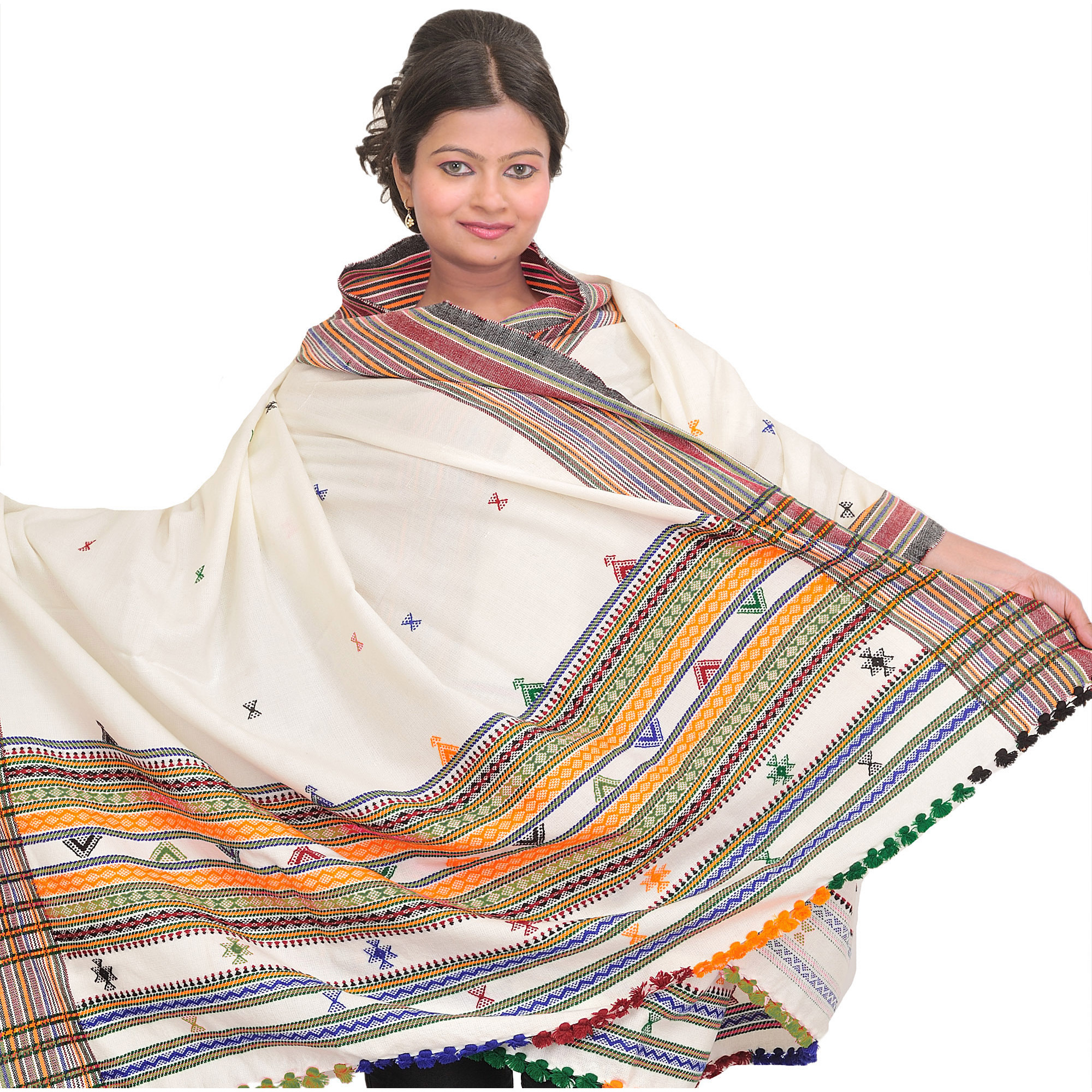 Off-White Shawl from Kutch with Multicolor Thread Weave