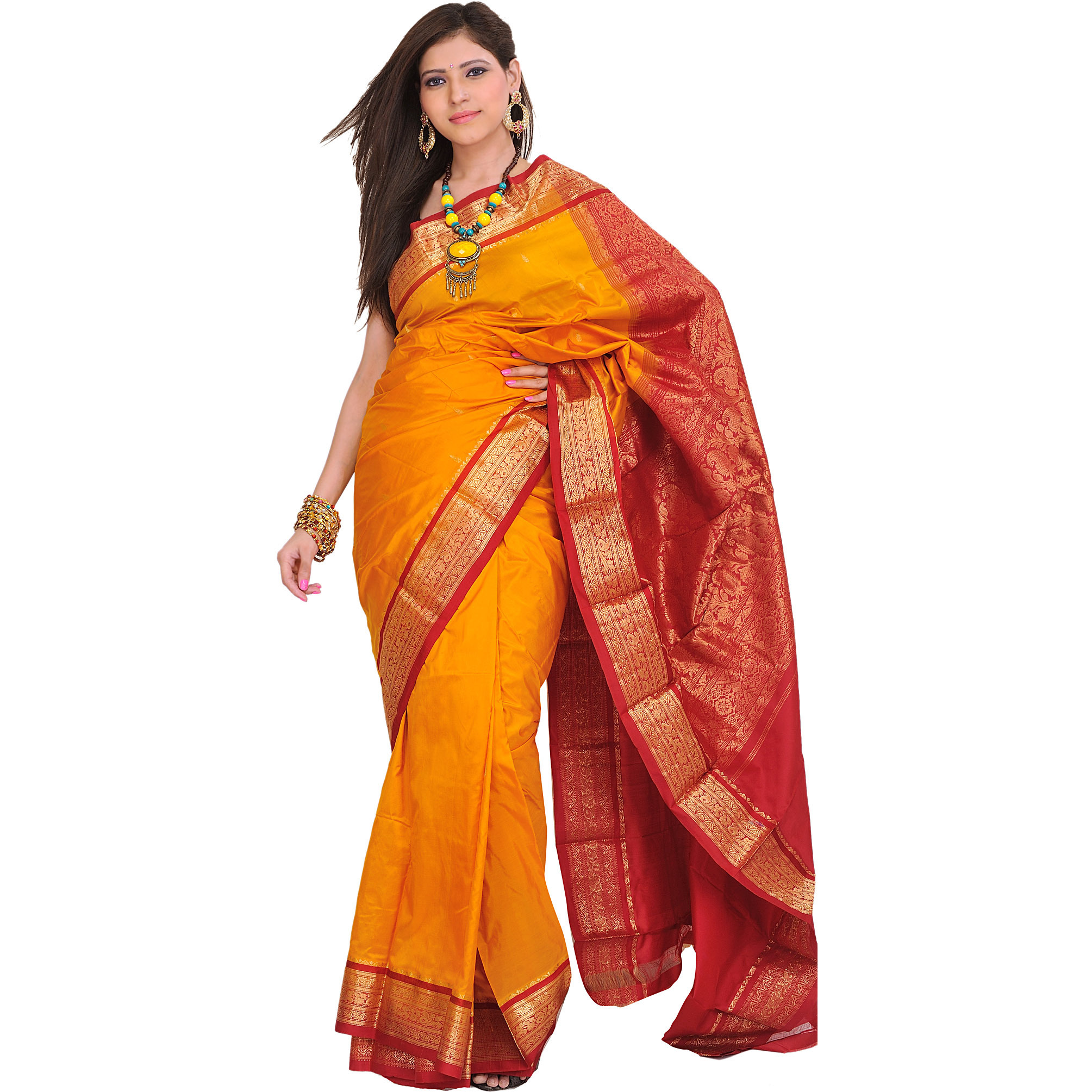Golden-Glow Handloom Sari from Bangalore with Woven Paisleys on Aanchal