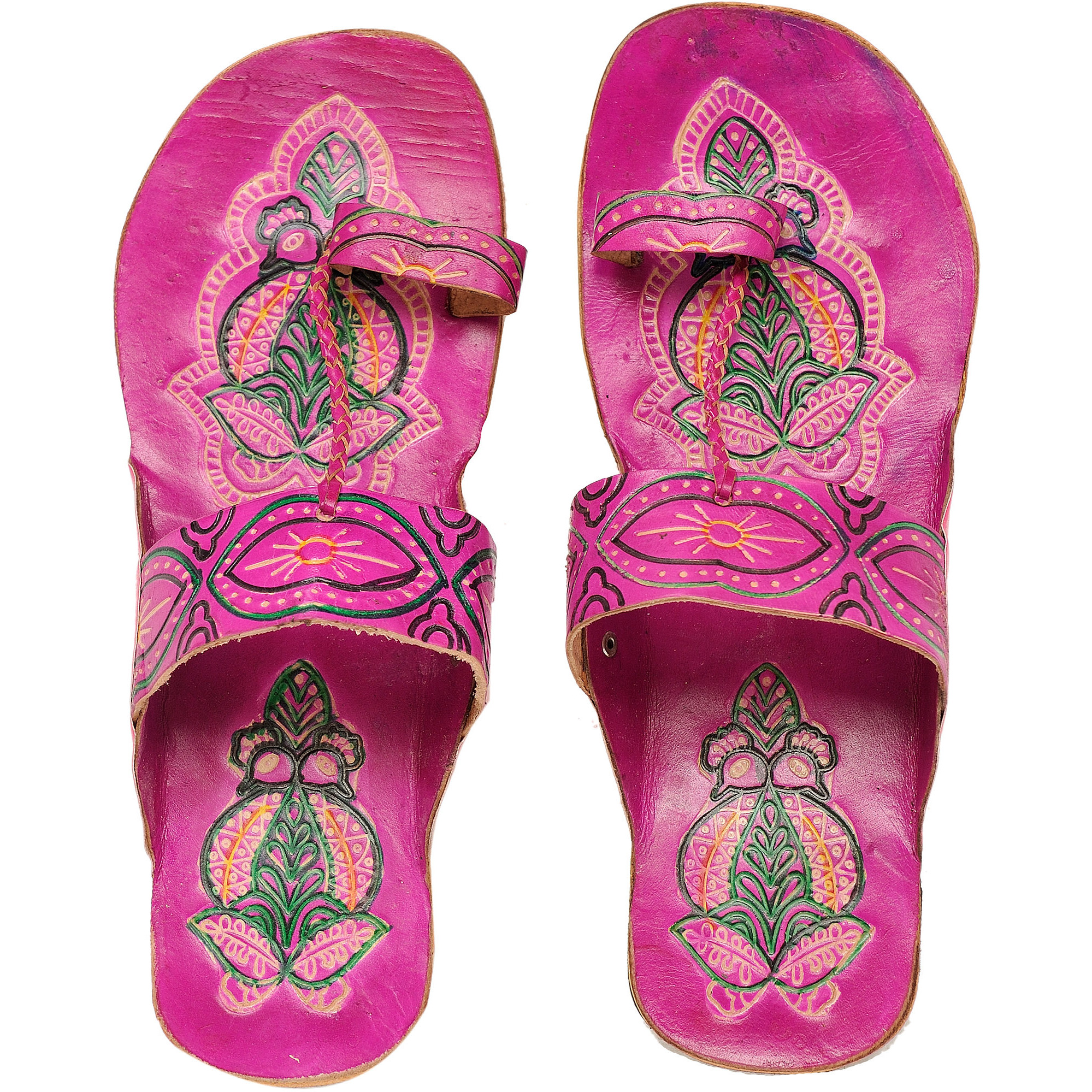 Shantiniketan Slippers with Painted Peacocks