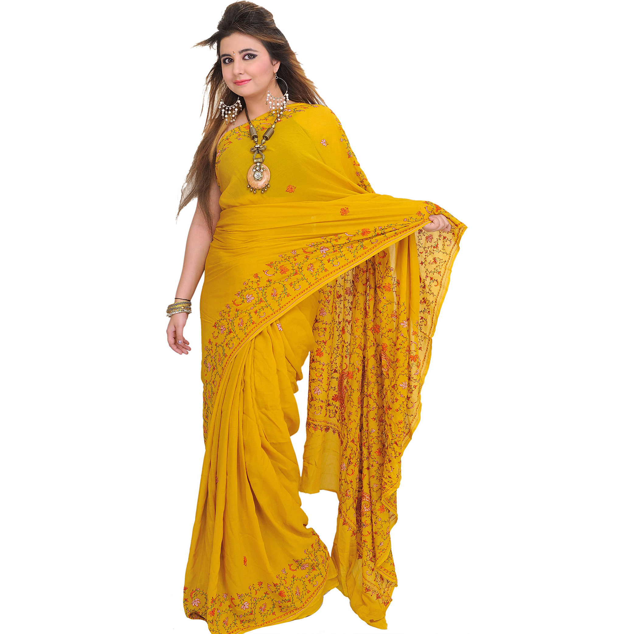 Lemon-Curry Ultralight Sari from Kashmir with Sozni Embroidery by Hand