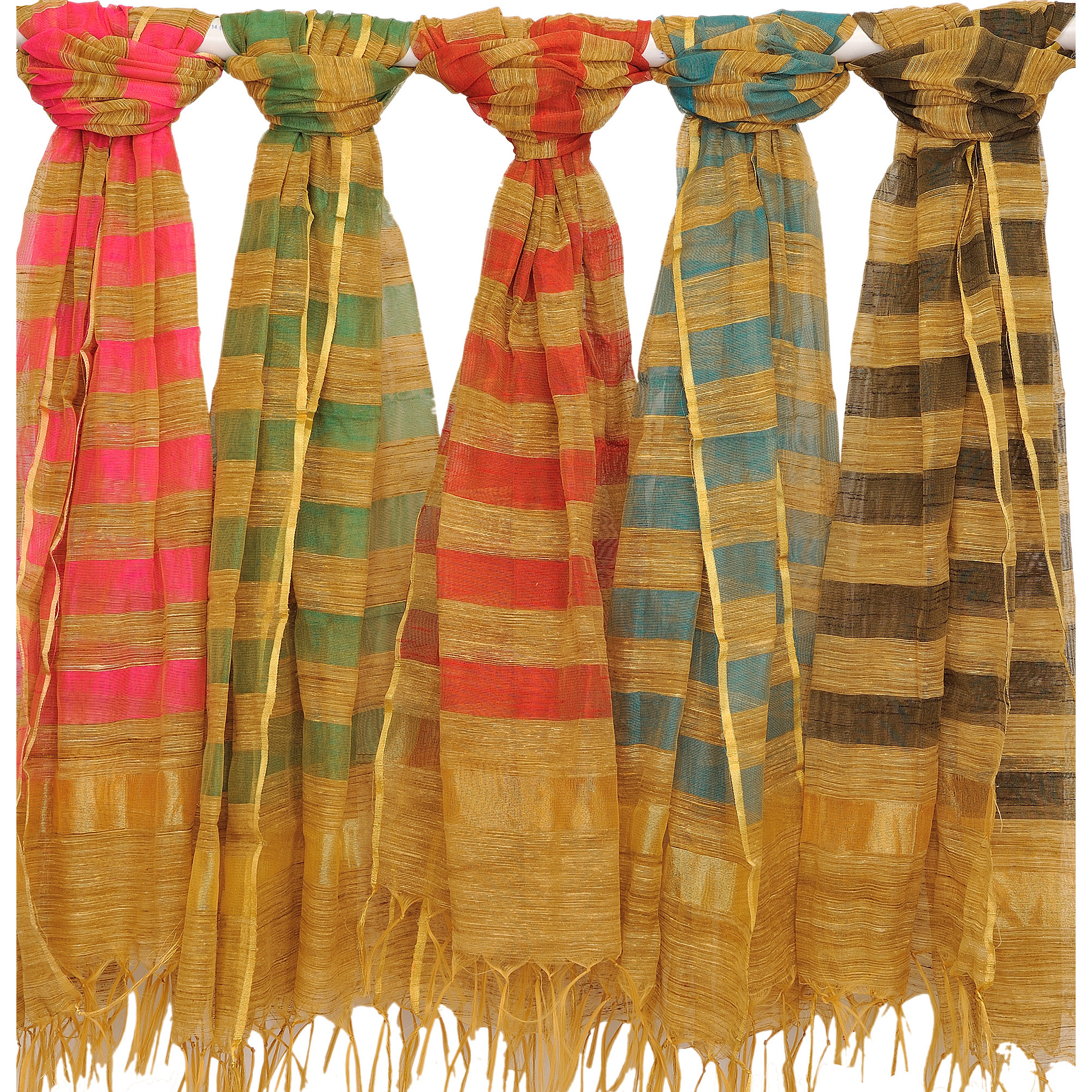 Lot of Five Striped Dupattas from Banaras